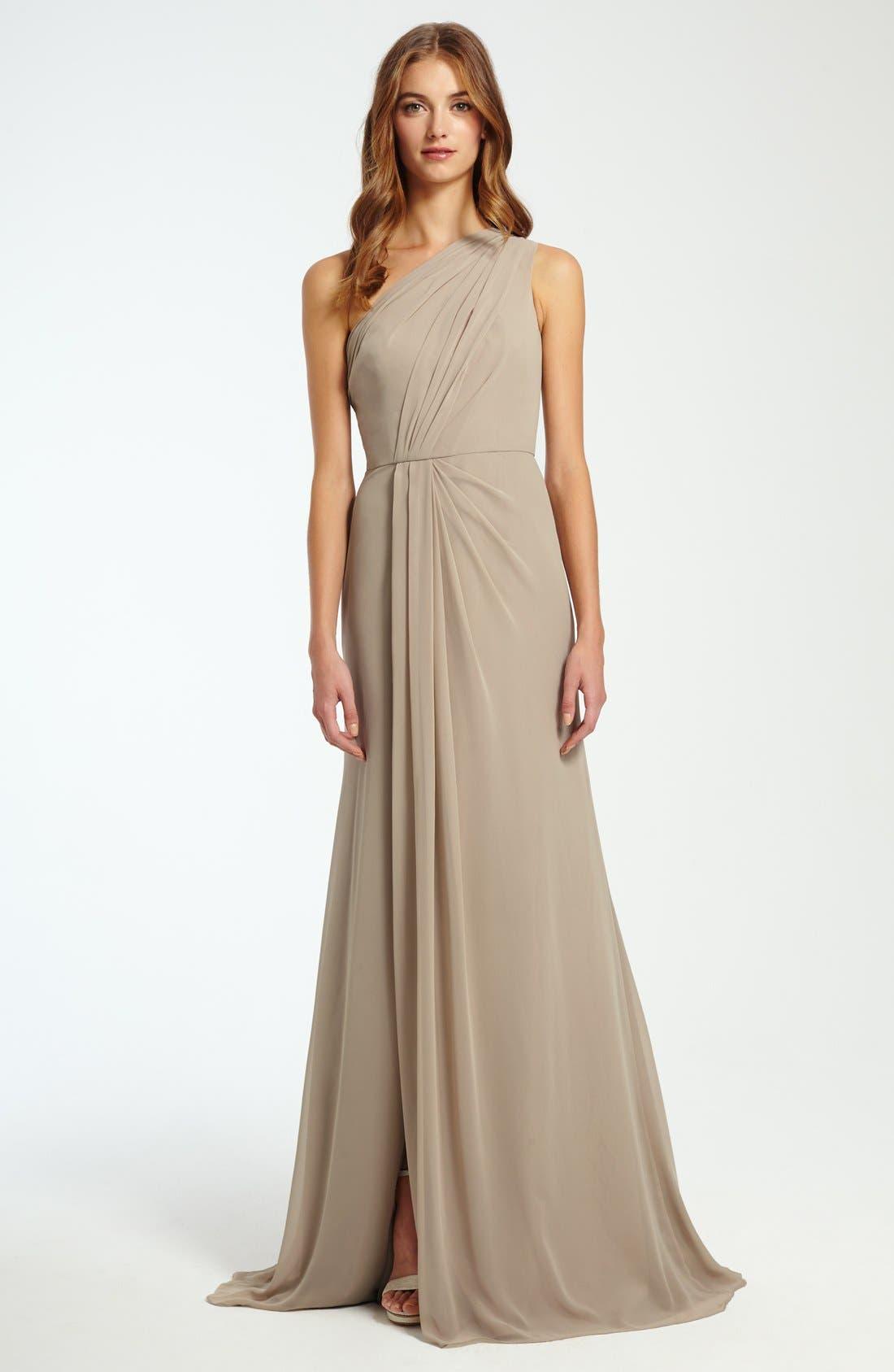 One-Shoulder Chiffon Gown,                             Alternate thumbnail 4, color,                             257