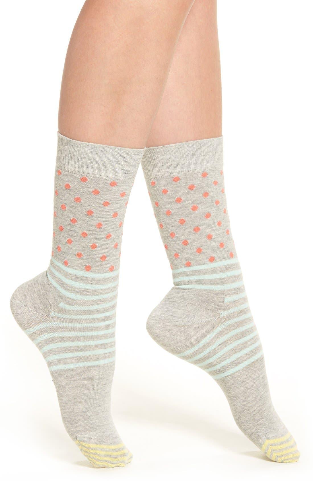 Stripes & Dots Crew Socks,                             Main thumbnail 4, color,