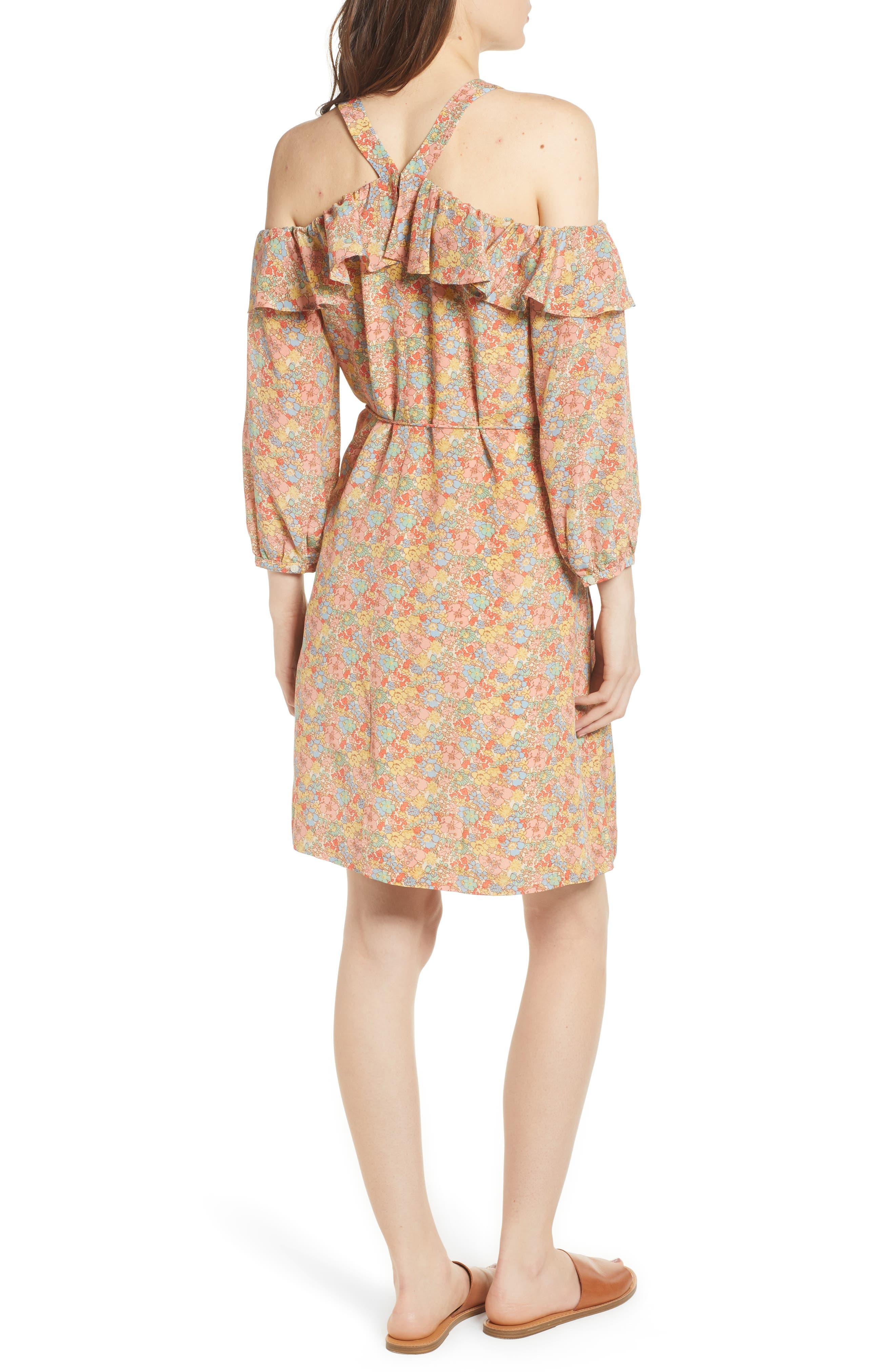 Forsythia Cold Shoulder Silk Dress,                             Alternate thumbnail 2, color,                             650