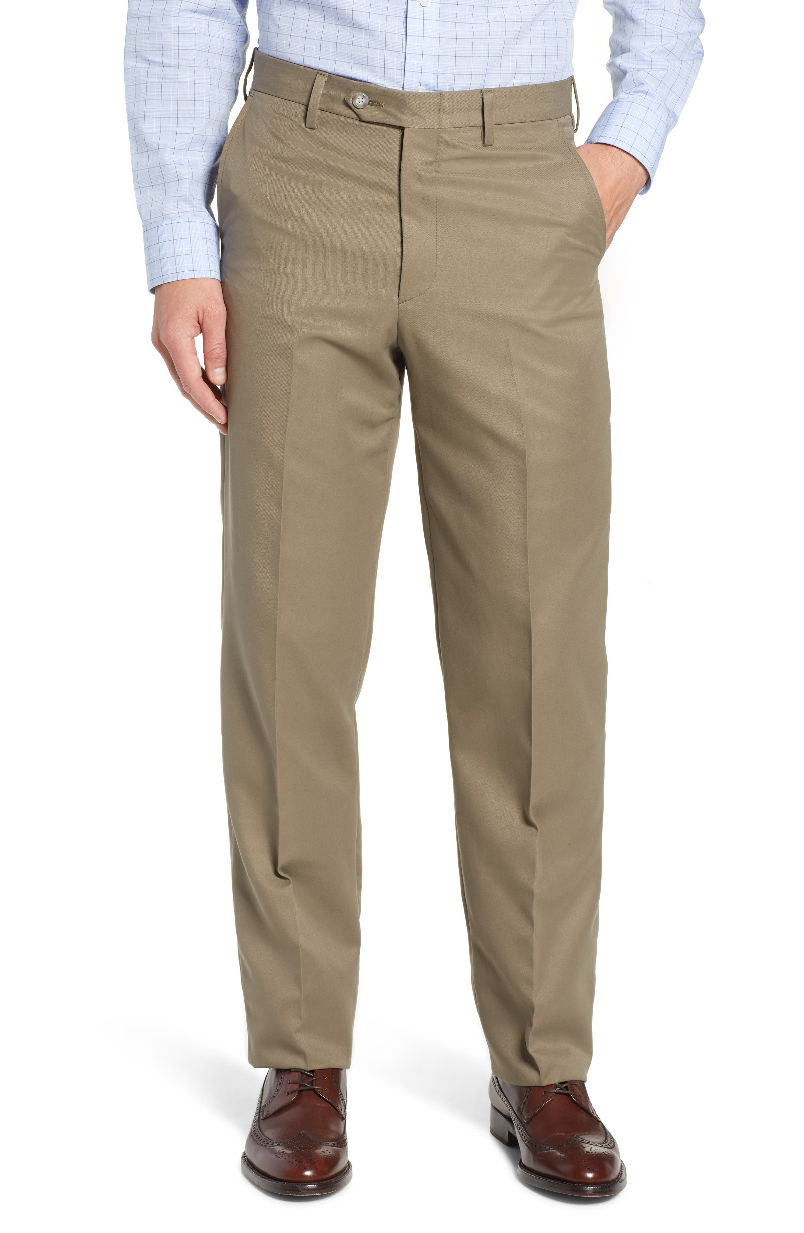 Classic Fit Flat Front Microfiber Performance Trousers,                         Main,                         color, GREEN