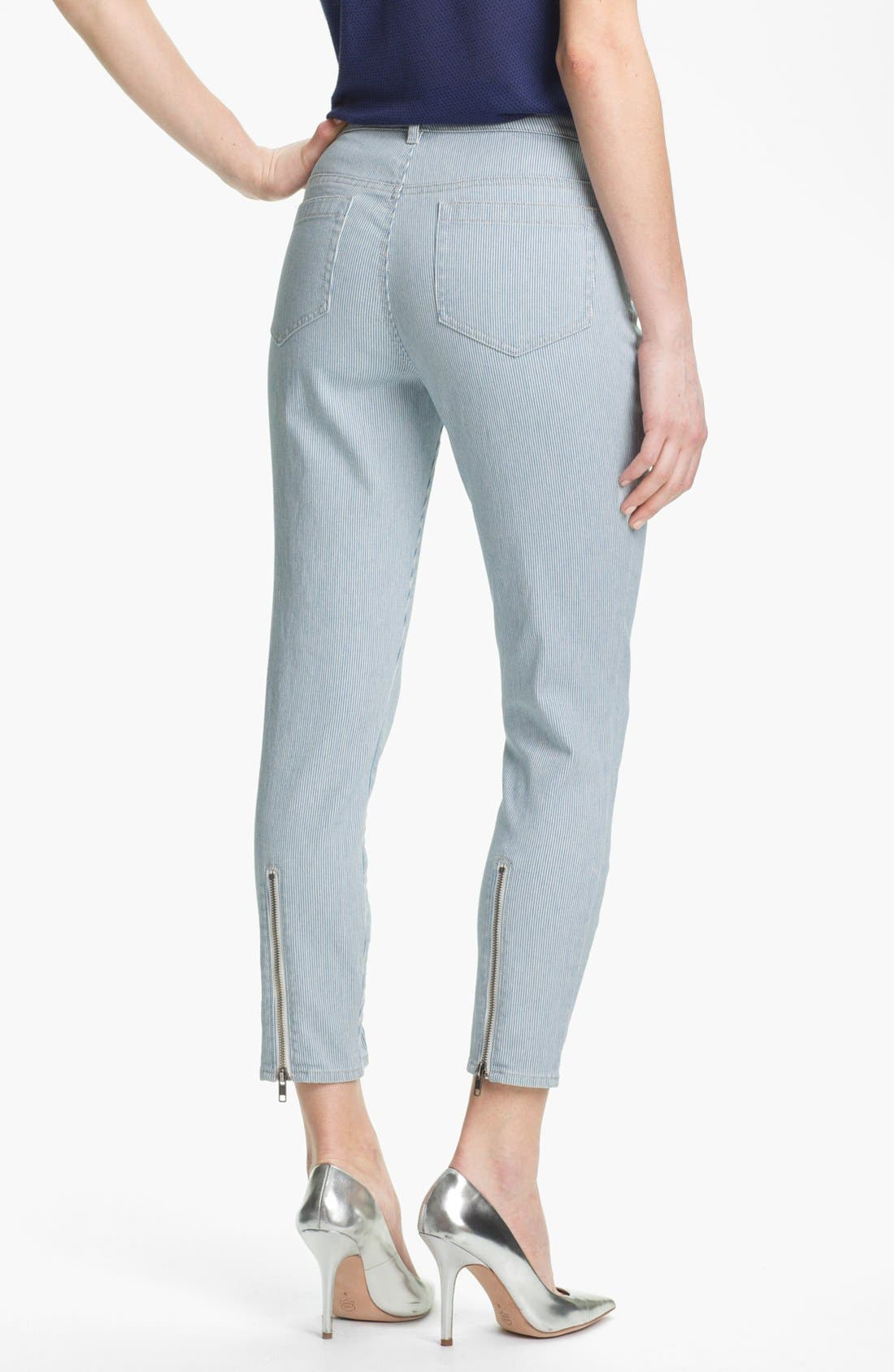 Pinstripe Zip Ankle Jeans,                             Alternate thumbnail 2, color,