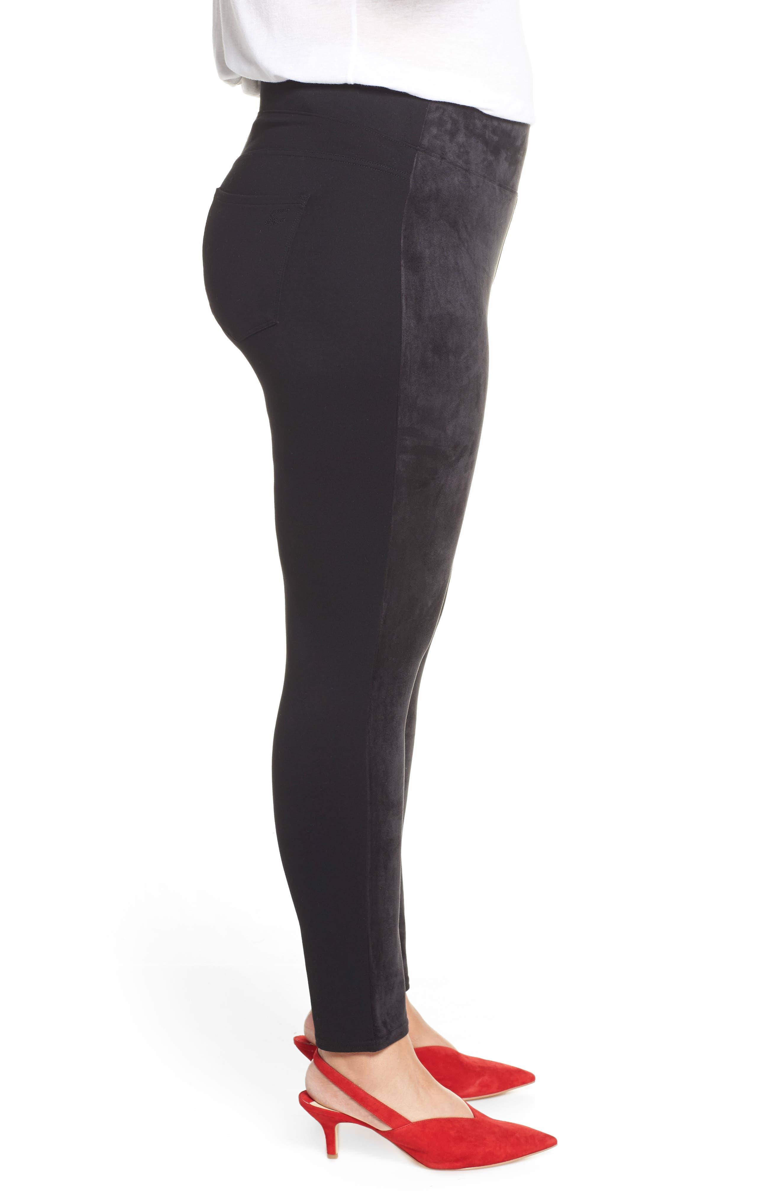 SEVEN7,                             High Rise Pull-On Vegan Leather Pants,                             Alternate thumbnail 3, color,                             CAVIAR