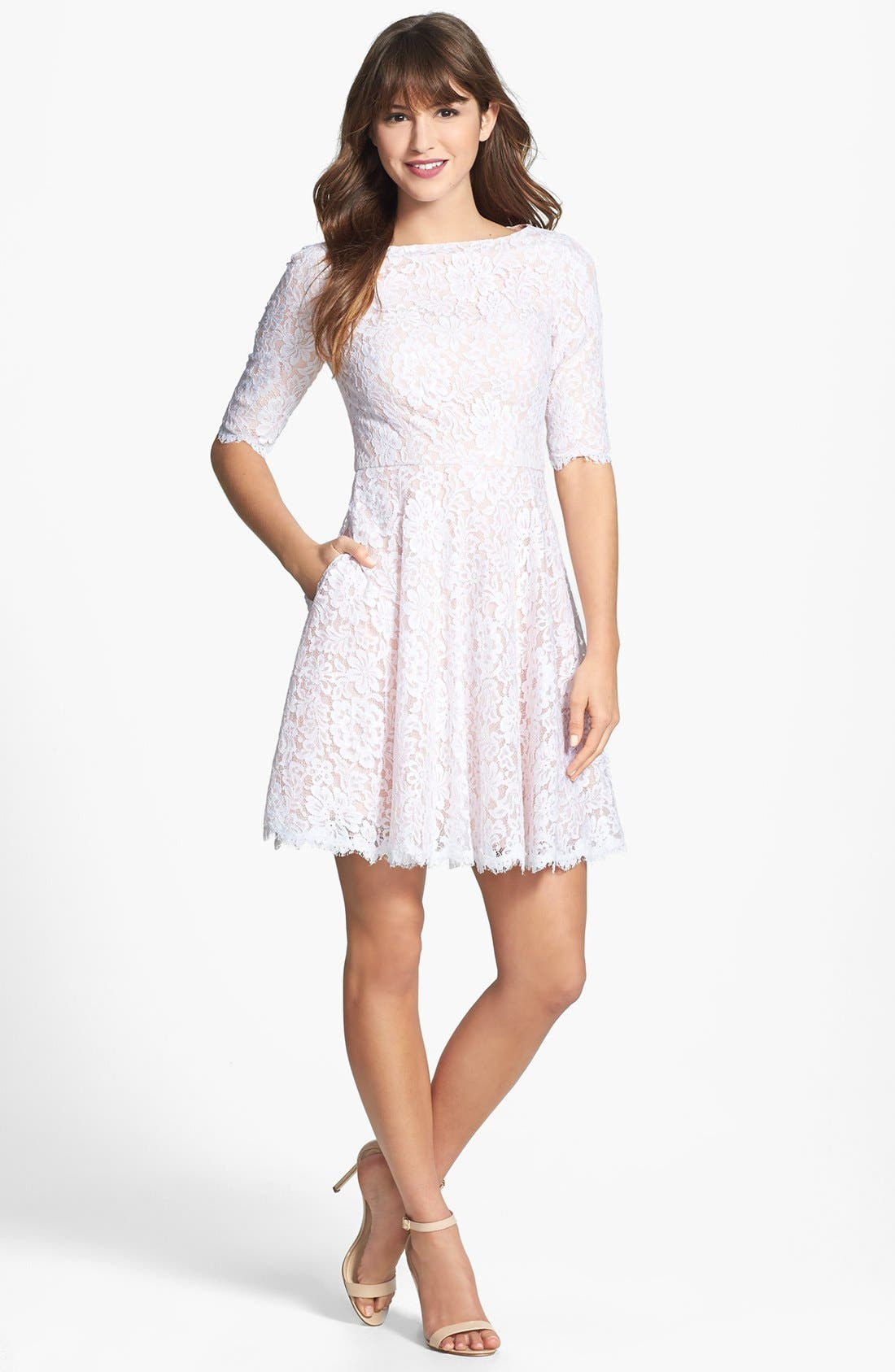 Lace Fit & Flare Dress,                             Main thumbnail 1, color,                             100