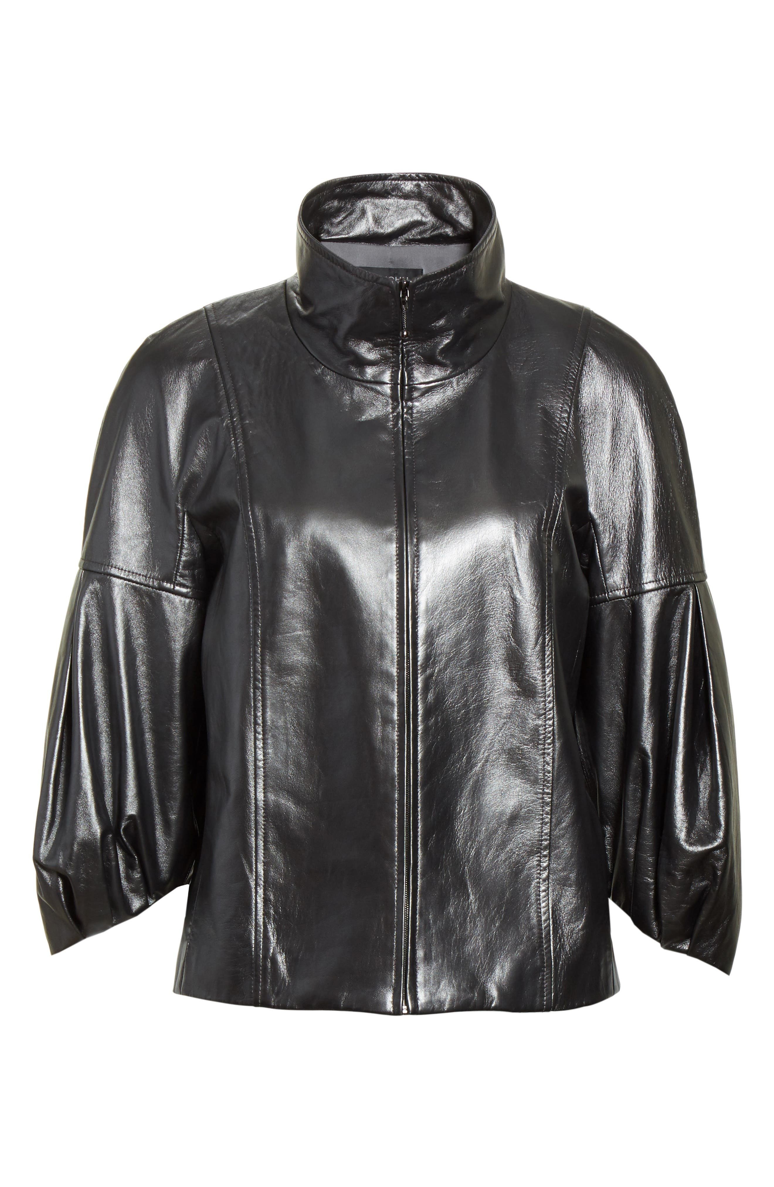 Pearlized Nappa Leather Jacket,                             Alternate thumbnail 5, color,                             020