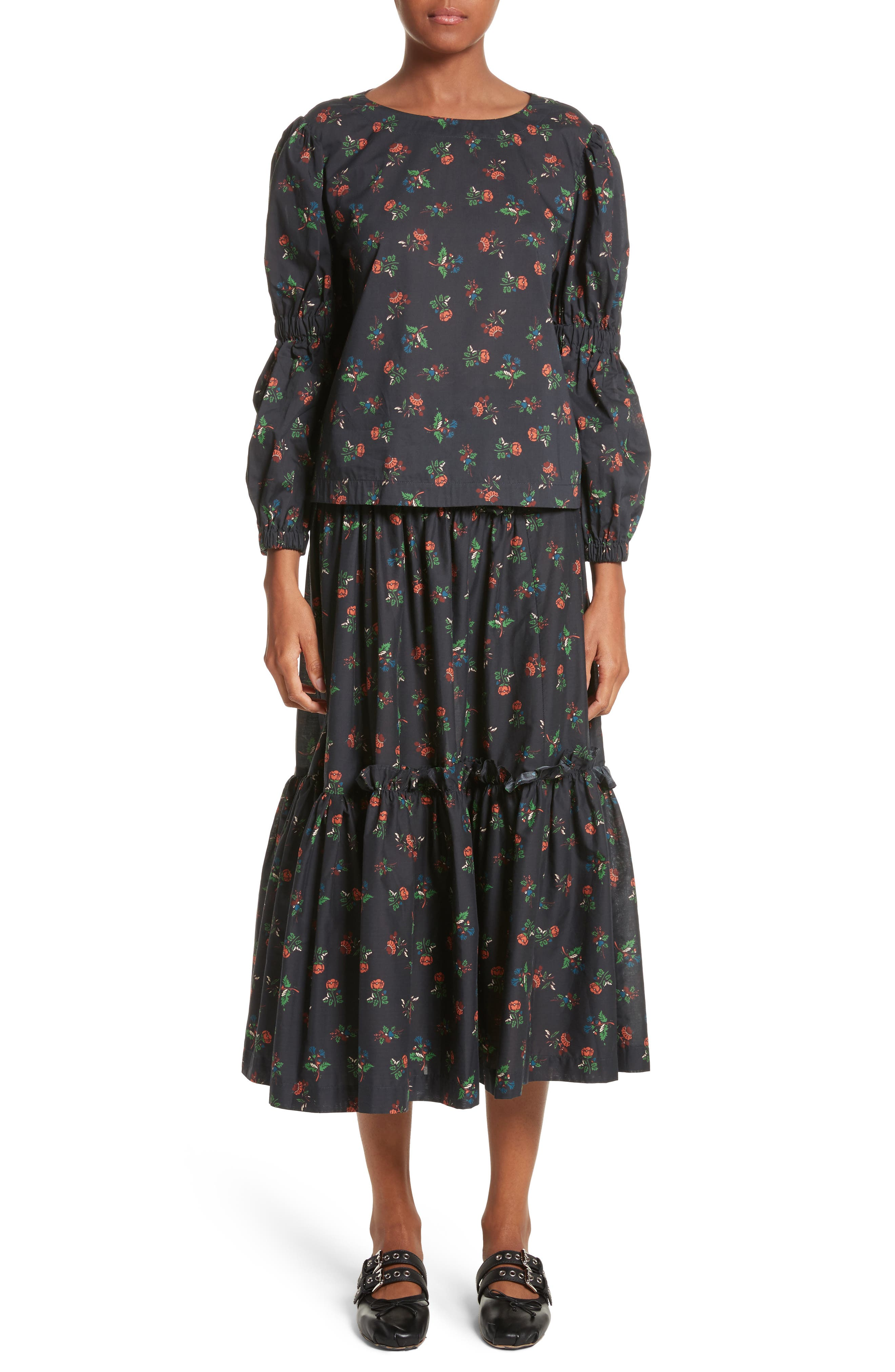Tracey Floral Skirt,                             Alternate thumbnail 7, color,                             001