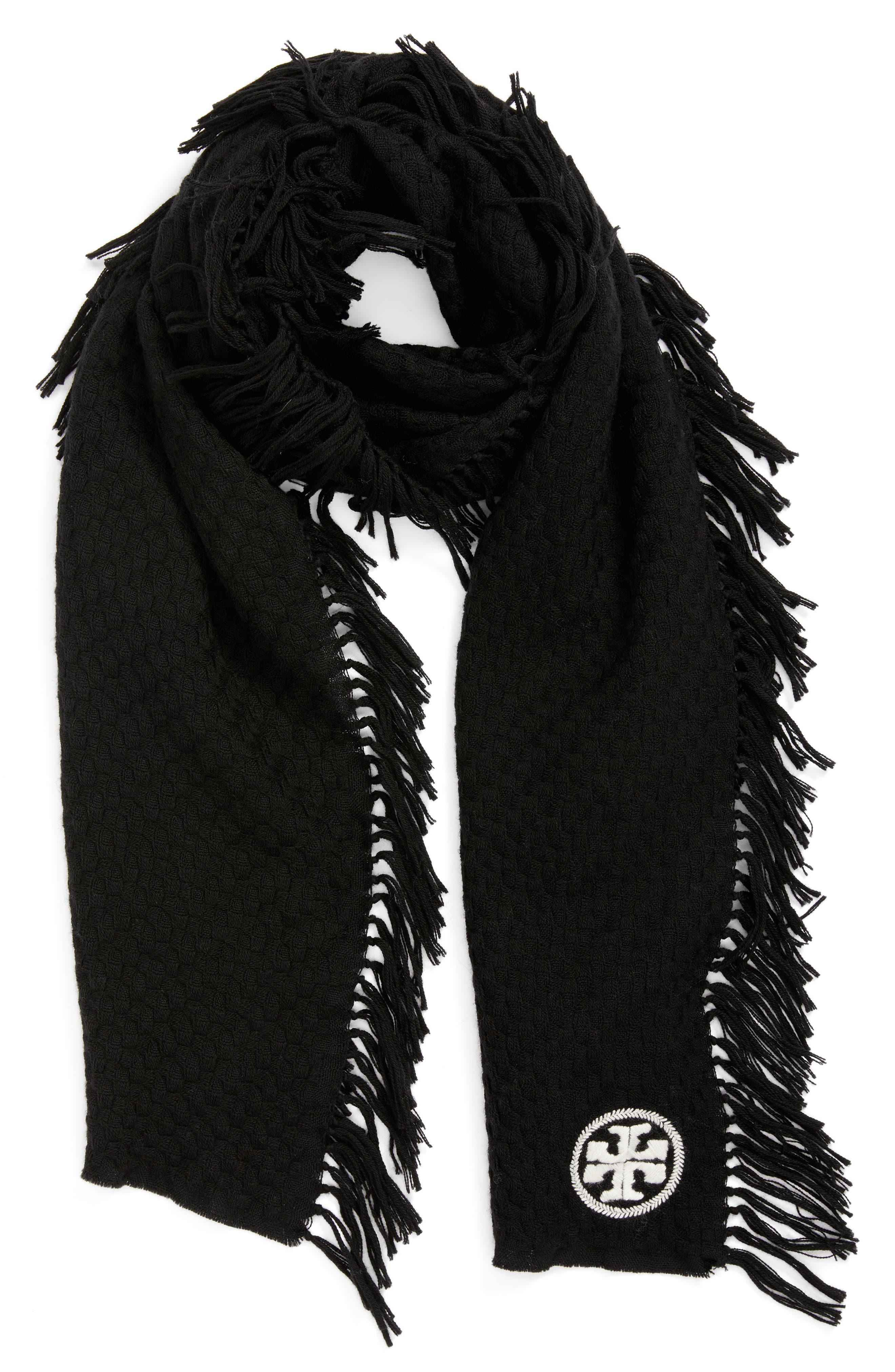 Fringe Merino Wool Scarf,                             Alternate thumbnail 2, color,                             BLACK