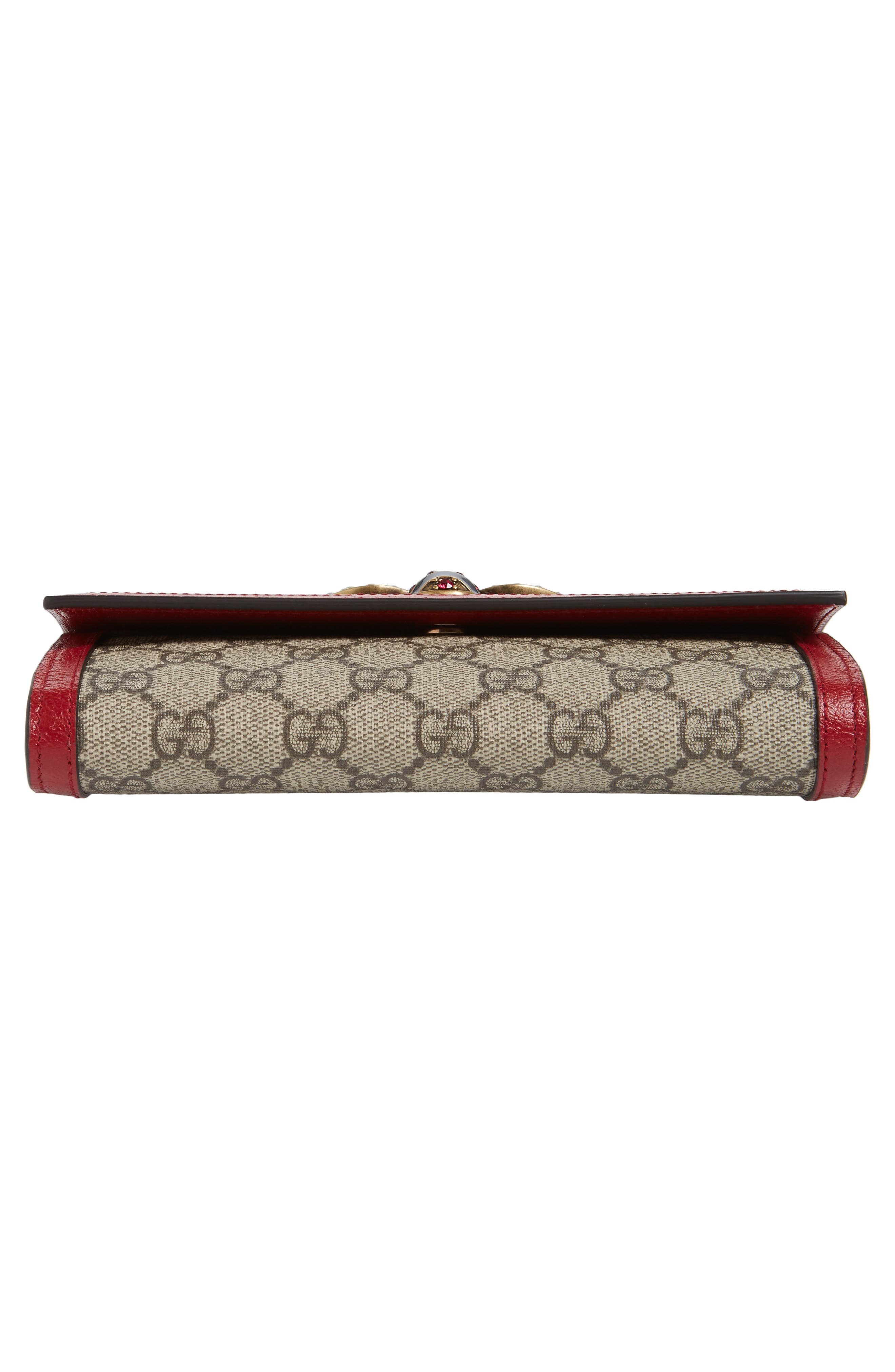 Queen Margaret GG Supreme Canvas Flap Wallet,                             Alternate thumbnail 6, color,                             BEIGE EBONY/ BLUE RED/ RUBY