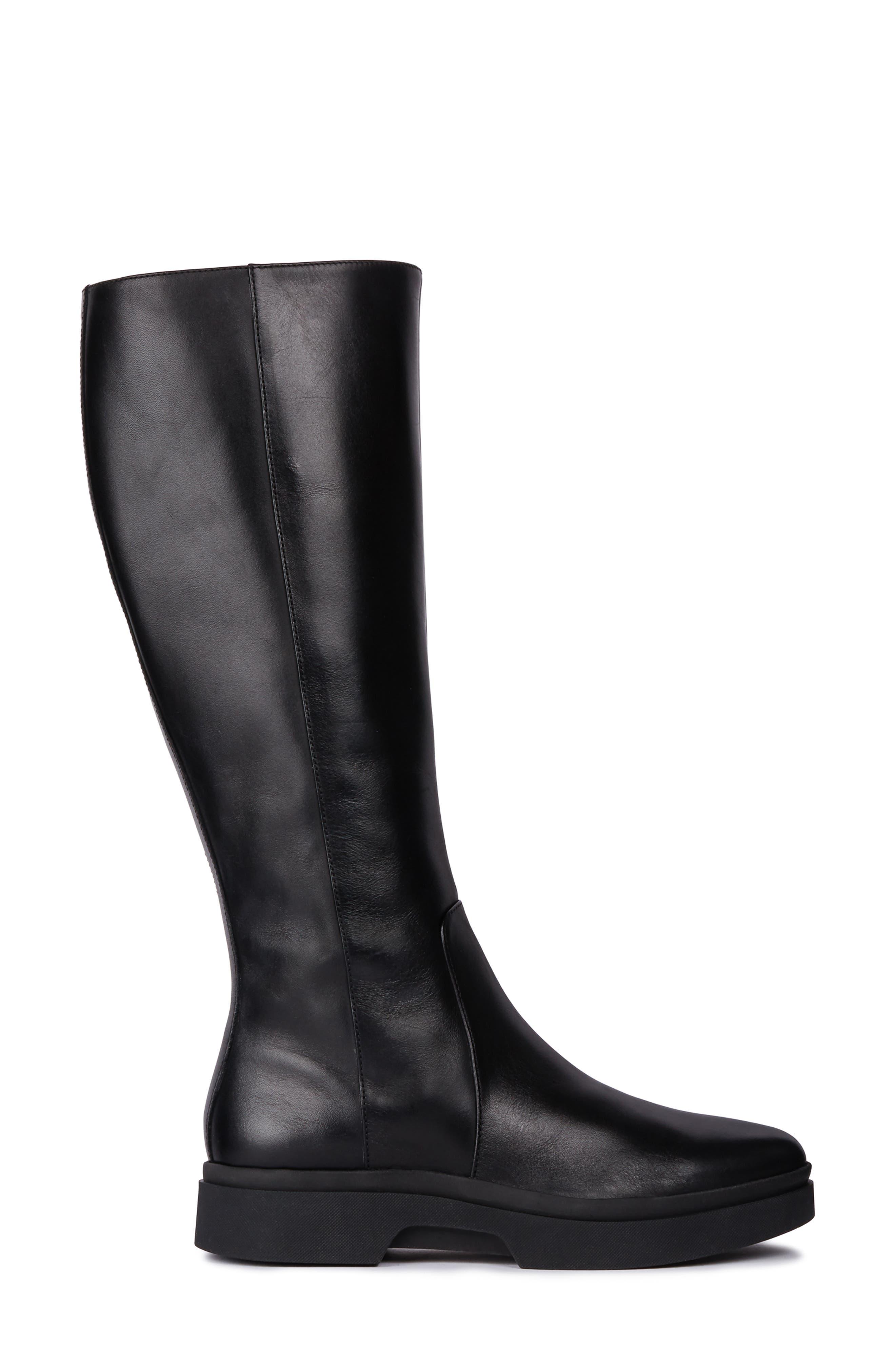Myluse Knee High Platform Waterproof Boot,                             Alternate thumbnail 3, color,                             BLACK LEATHER