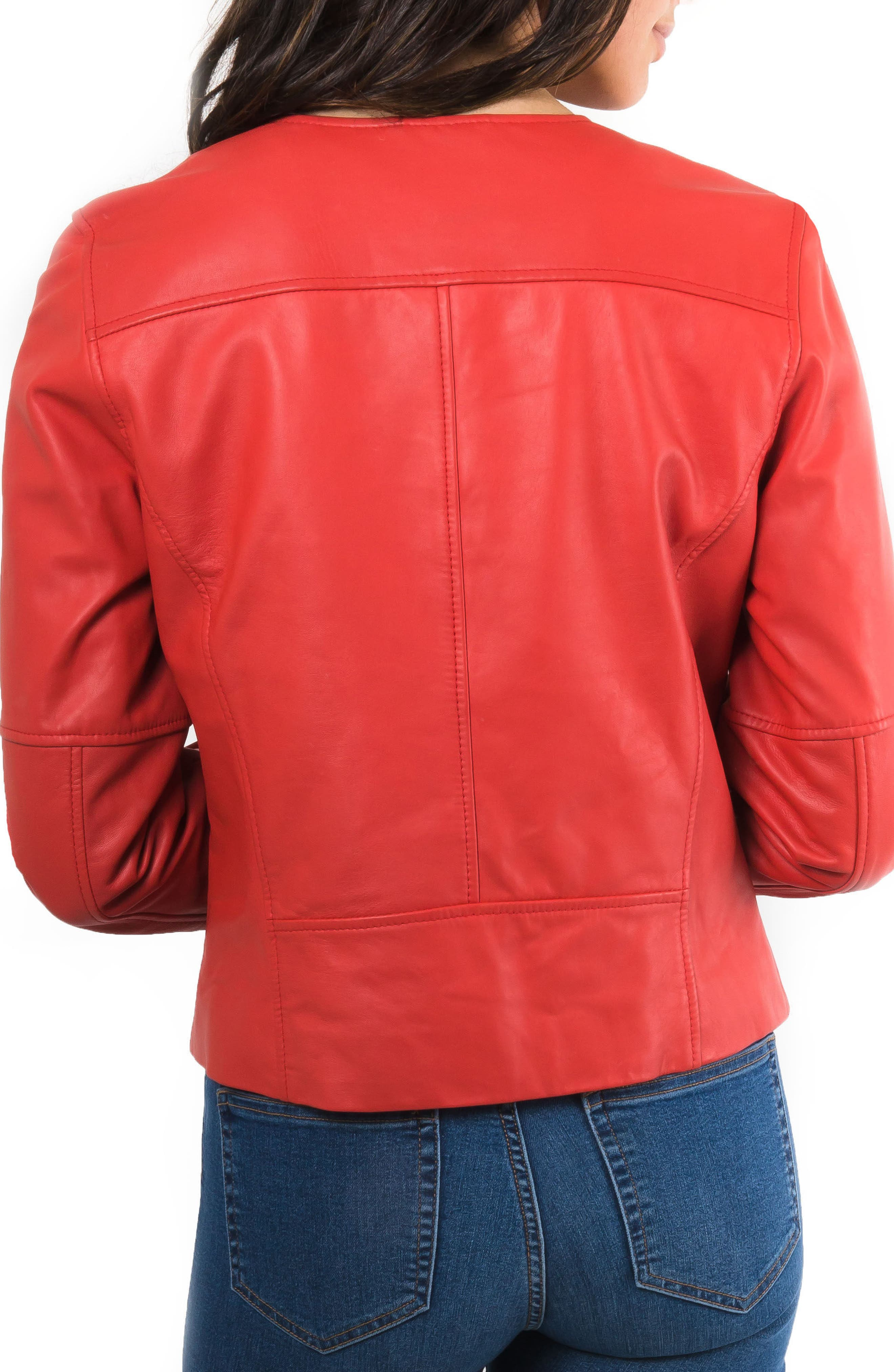 Leather Biker Jacket,                             Alternate thumbnail 6, color,