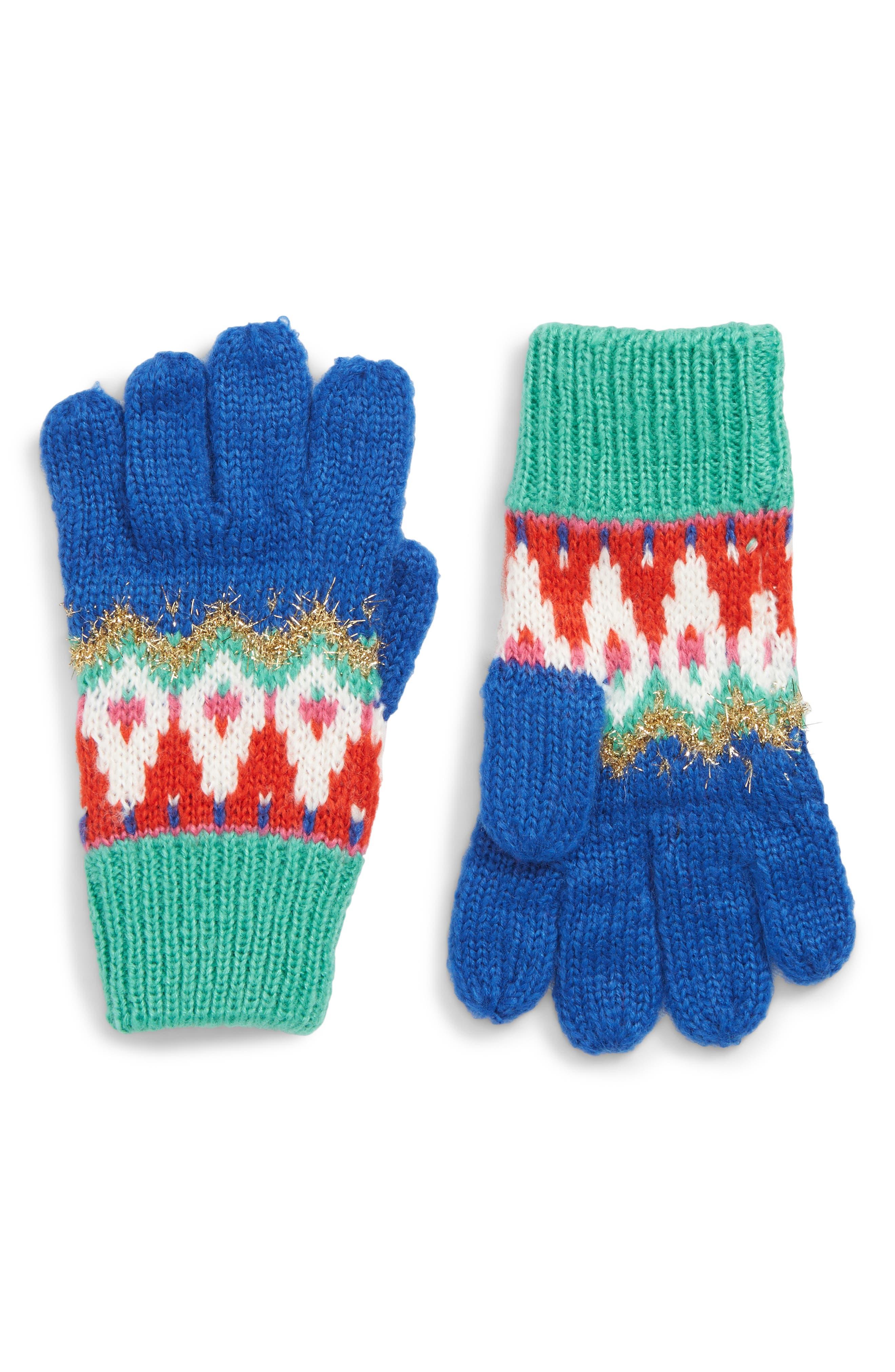 Toddler Girls Mini Boden Fair Isle Sparkle Gloves  Blue