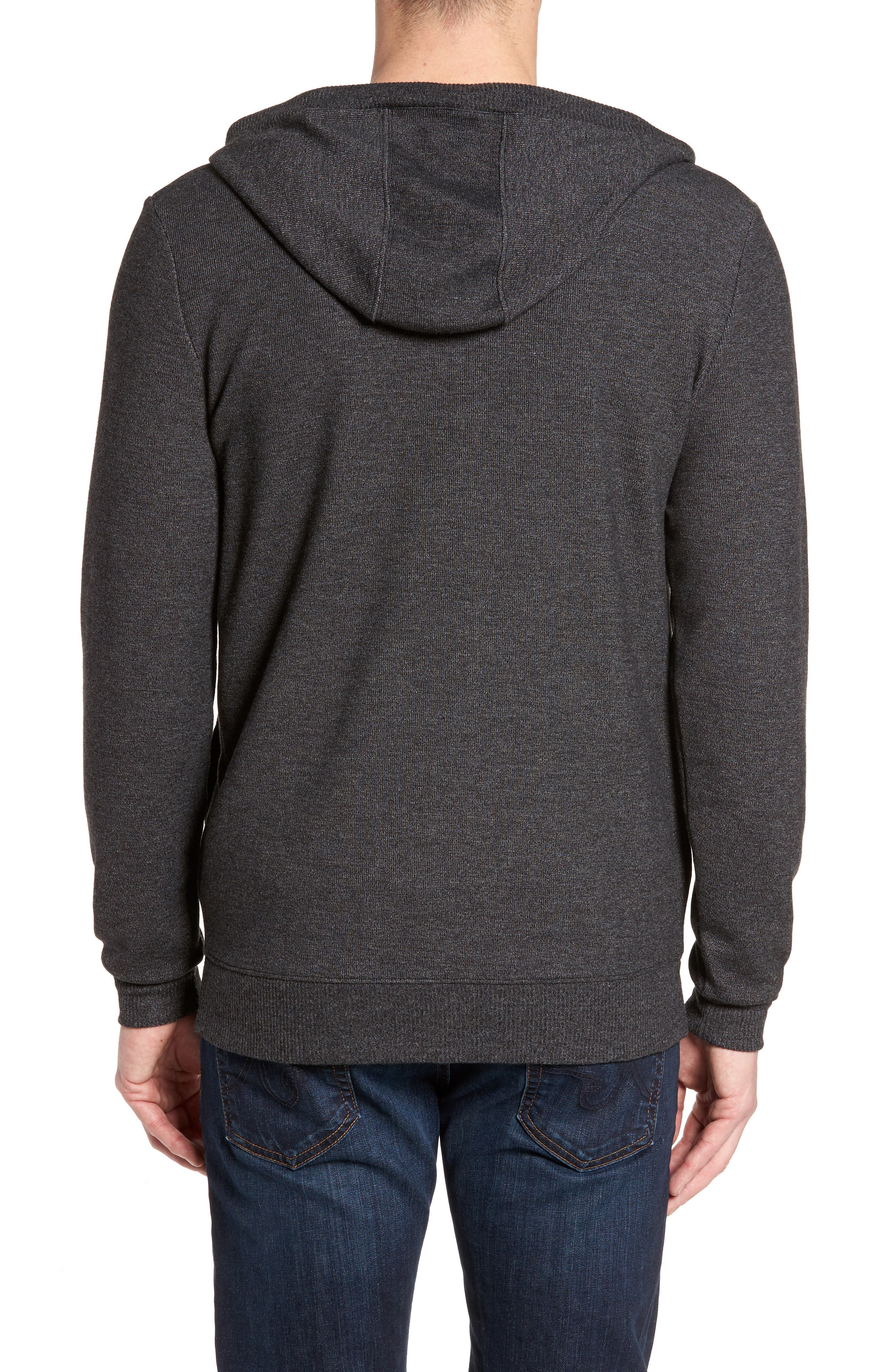 Snare Zip Front Hooded Cardigan,                             Alternate thumbnail 2, color,                             001