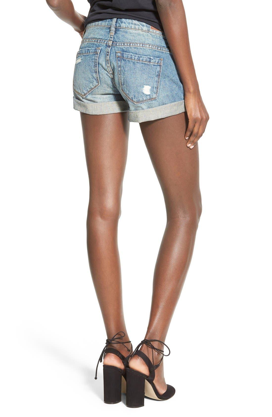 Cuffed Distressed Denim Shorts,                             Alternate thumbnail 2, color,                             400