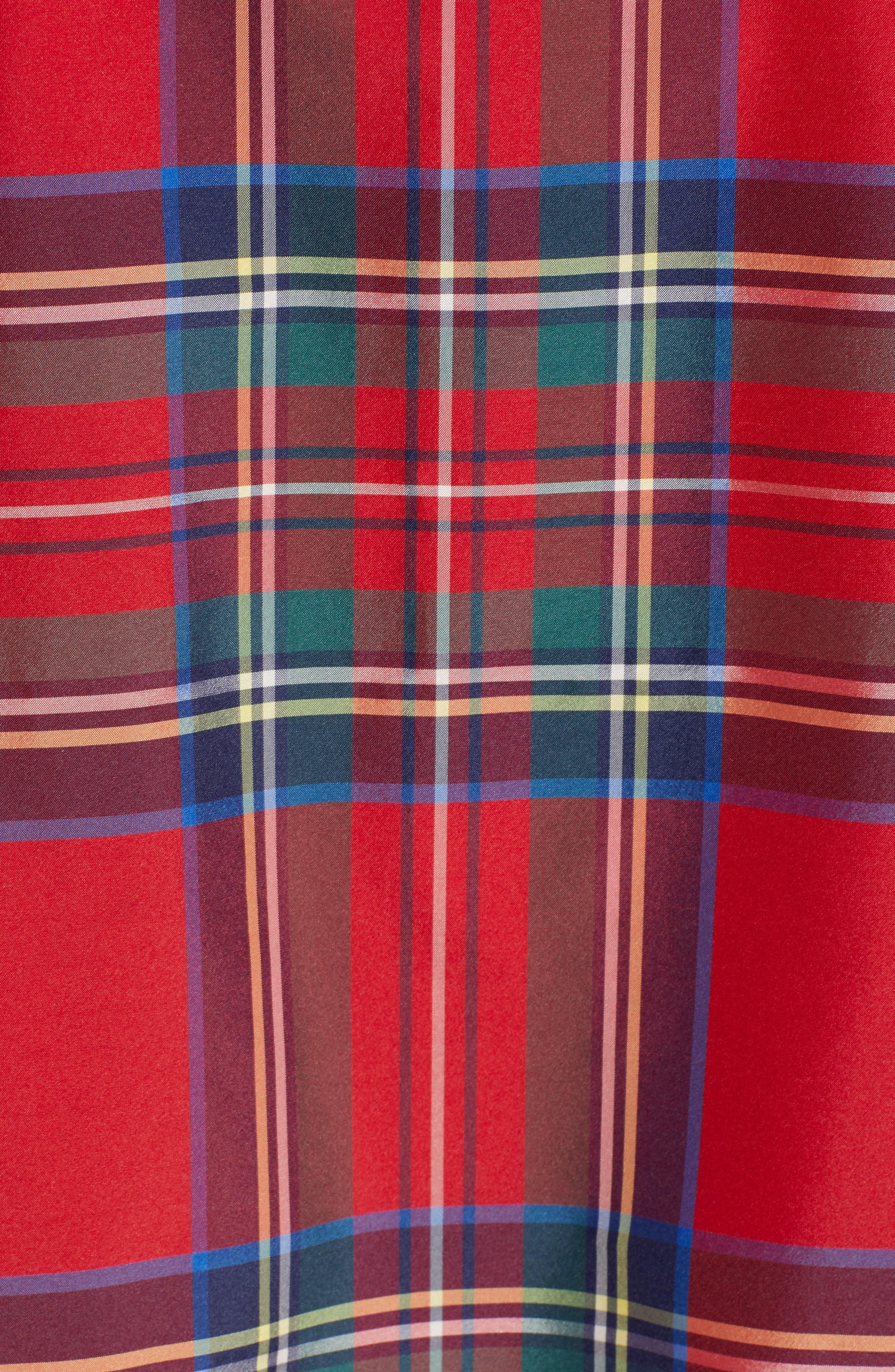 Amelia Jolly Plaid Swing Dress,                             Alternate thumbnail 6, color,                             CALYPSO RED