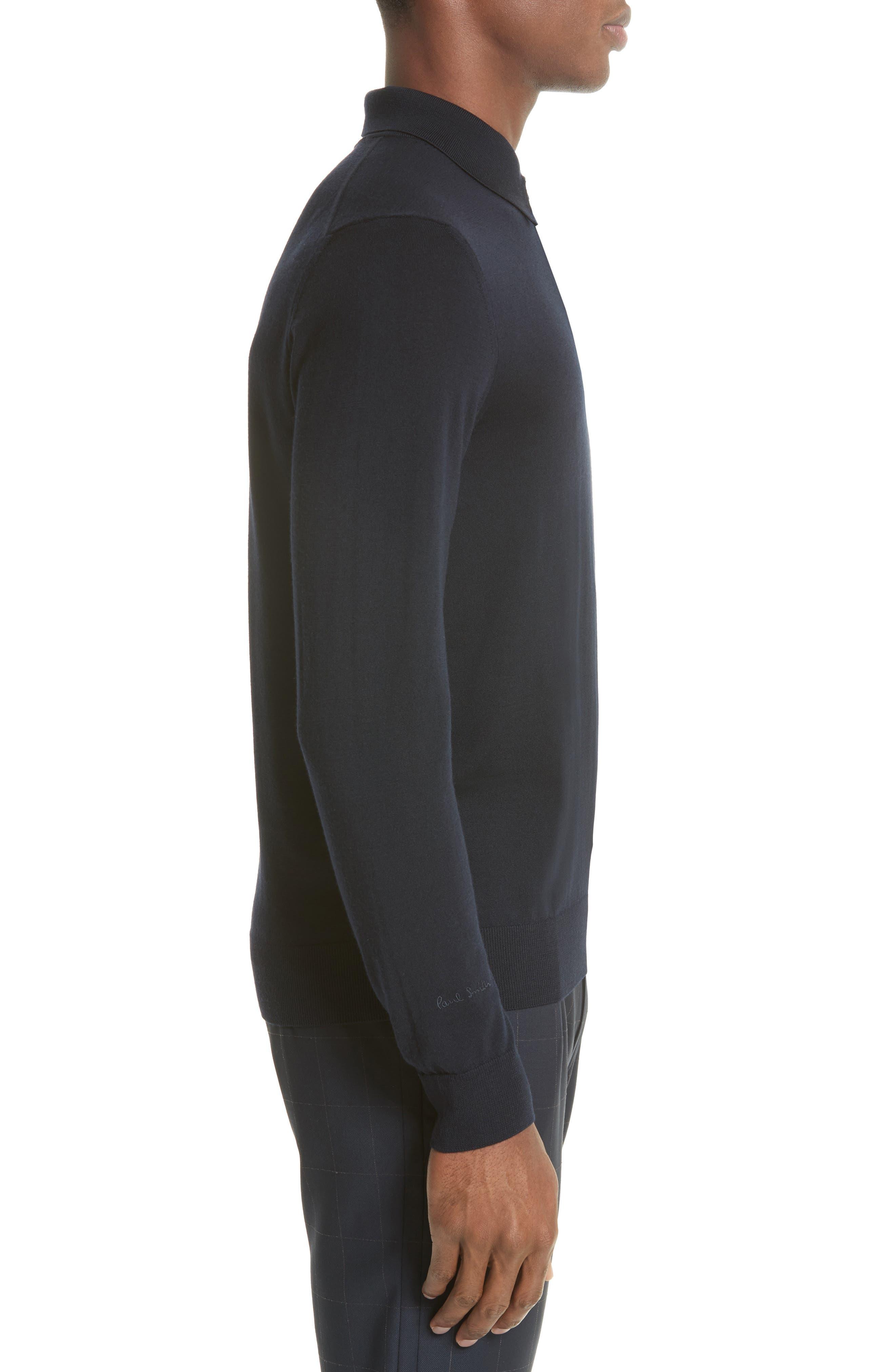 Merino Wool Long Sleeve Polo,                             Alternate thumbnail 3, color,                             410