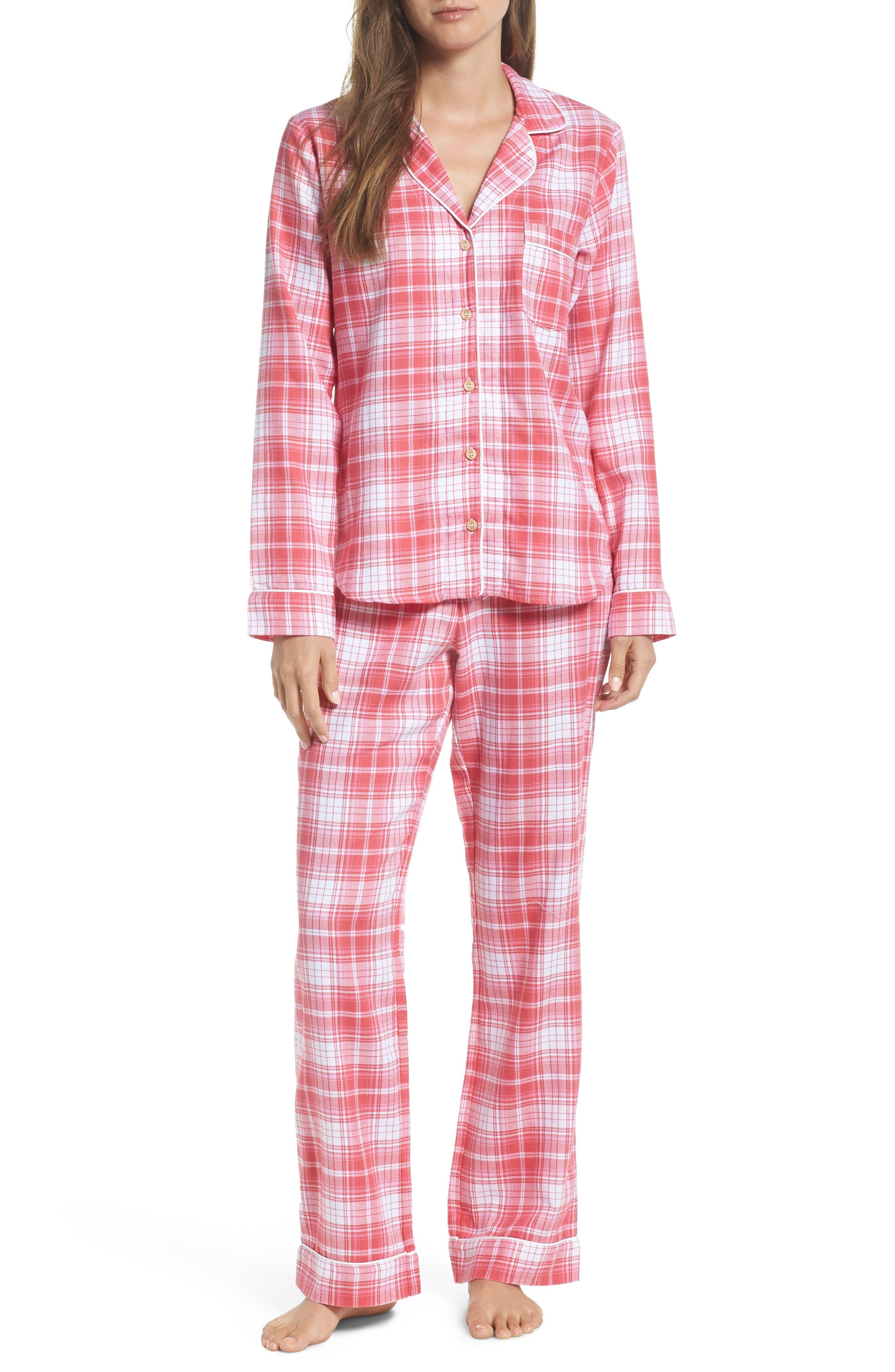 Raven Plaid Pajamas,                             Main thumbnail 1, color,                             CLARET RED PLAID