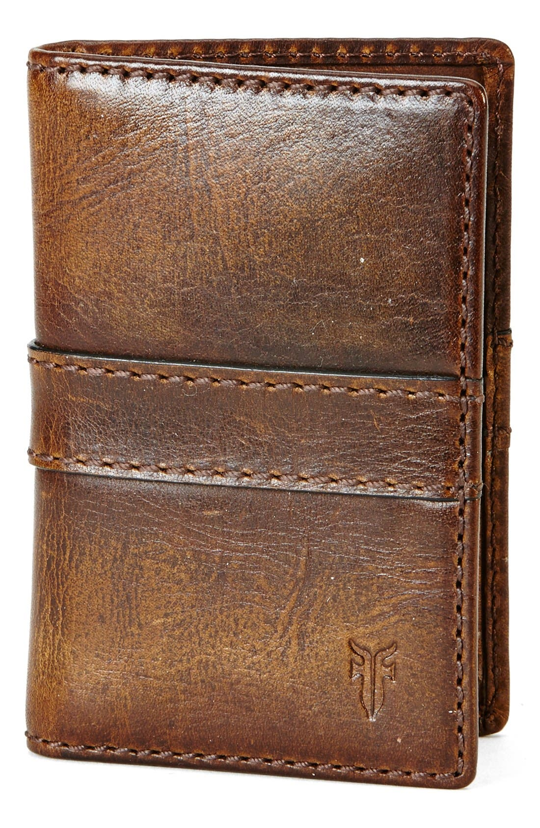 'Oliver' Leather Wallet,                             Main thumbnail 1, color,                             DARK BROWN