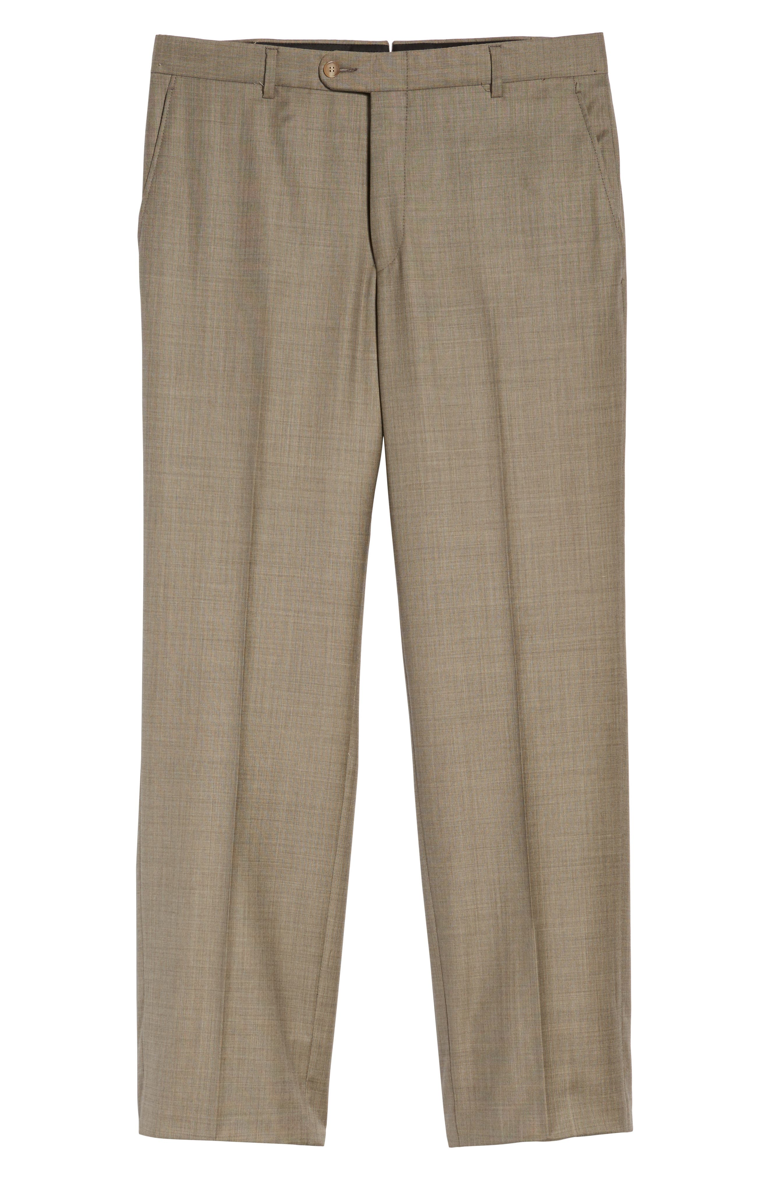 Classic B Fit Flat Front Solid Wool Trousers,                             Alternate thumbnail 6, color,                             TAN SHARKSKIN