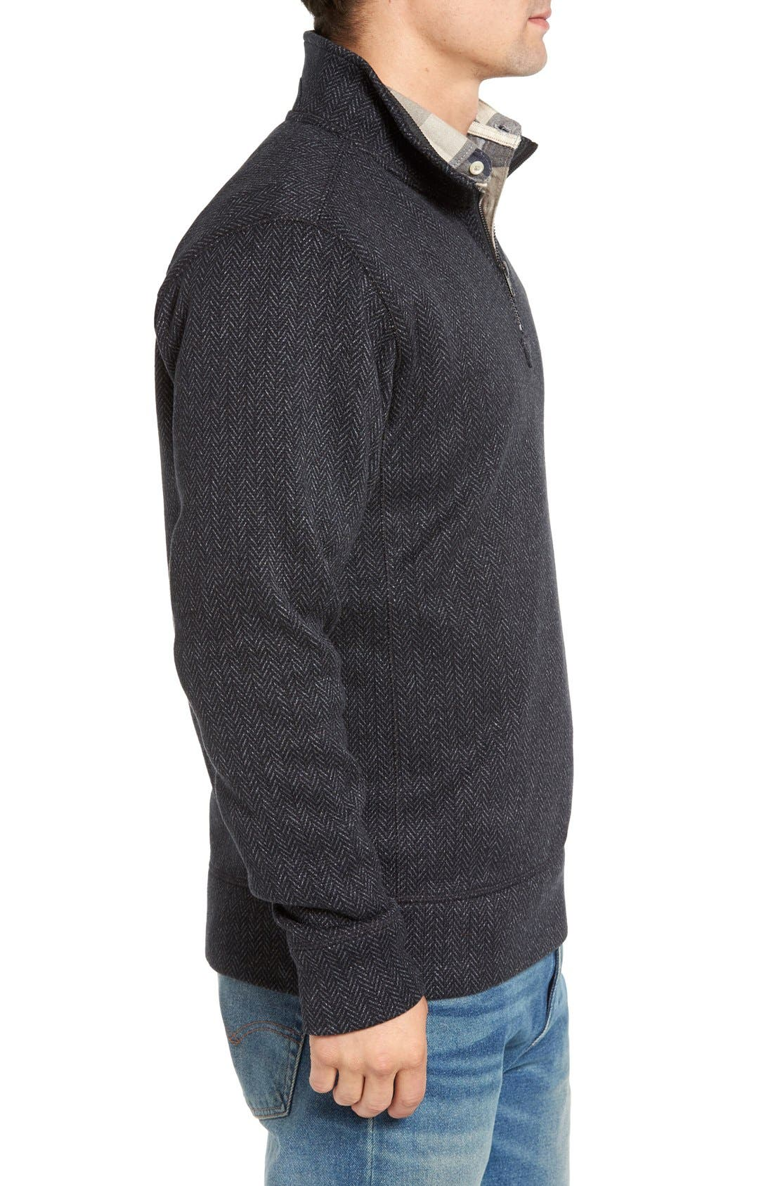 Lance Herringbone Zip Mock Neck Sweater,                             Alternate thumbnail 13, color,