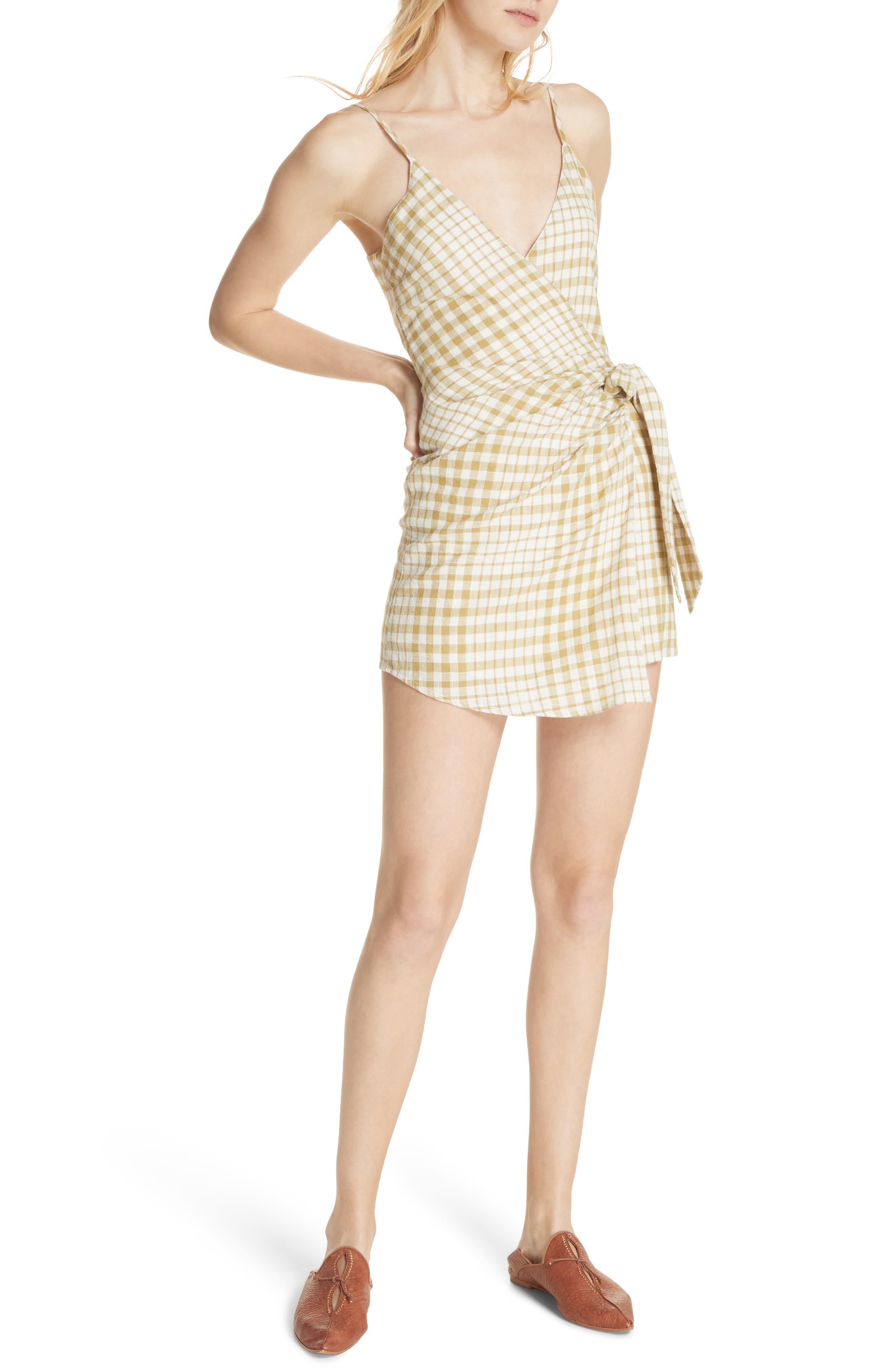 Nodia Check Wrap Minidress,                             Alternate thumbnail 10, color,