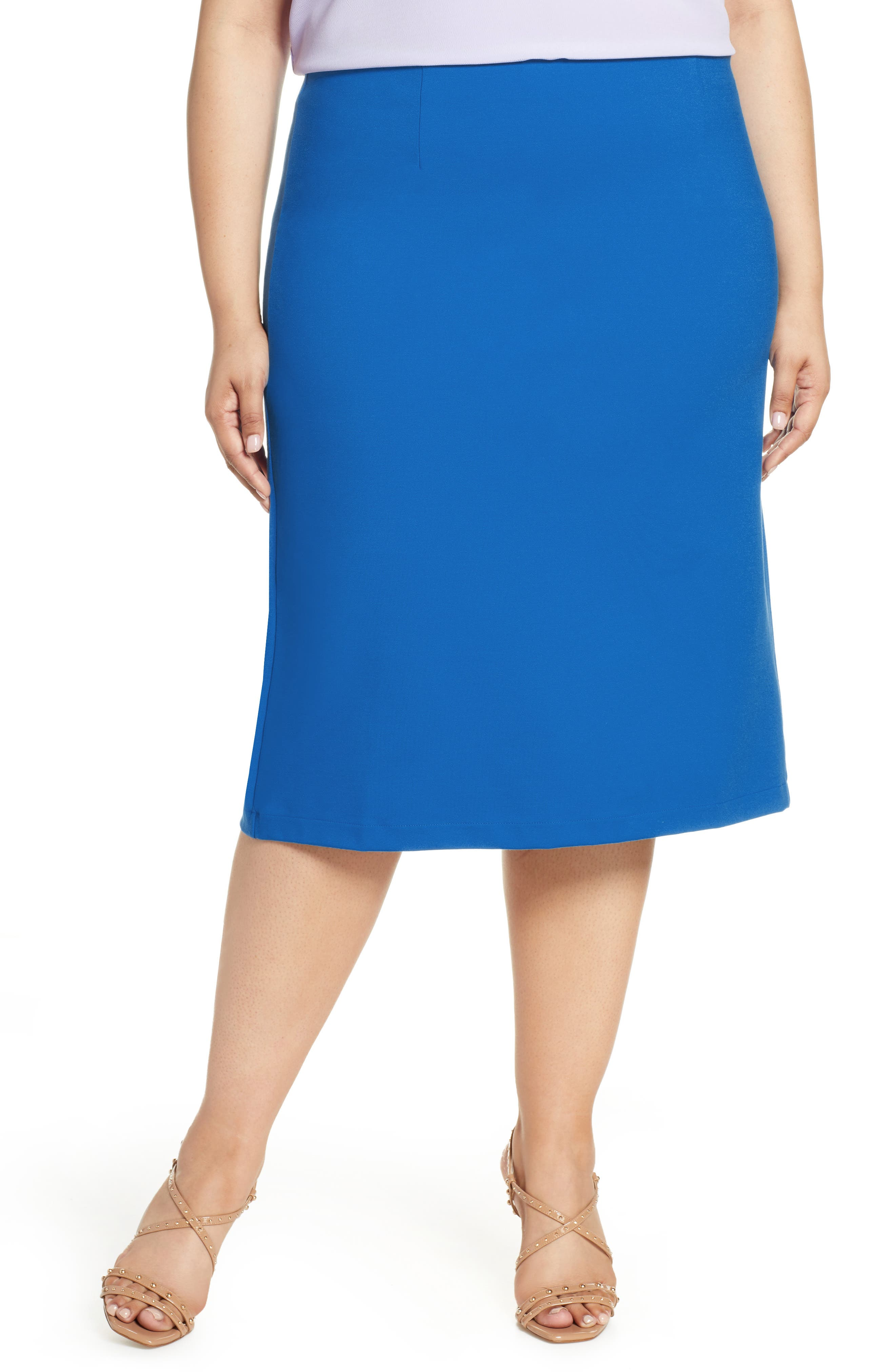 Plus Size Halogen Ponte Pencil Skirt, Blue