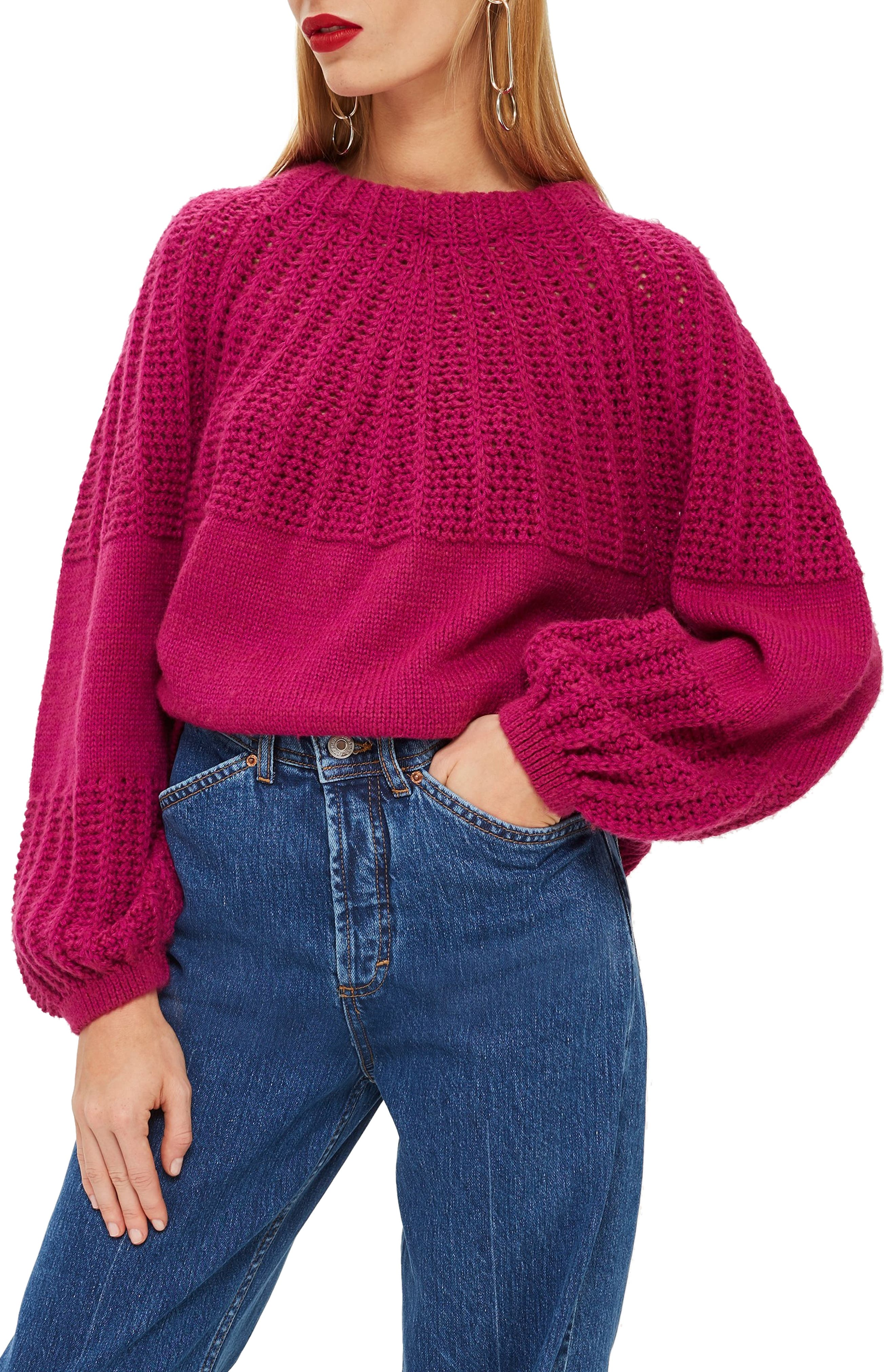 Pointelle Ball Sleeve Sweater, Main, color, 500