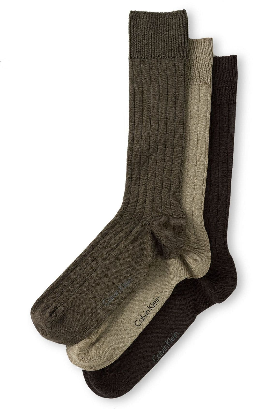 3-Pack Wide Rib Socks,                         Main,                         color, CHOCOLATE MULTI