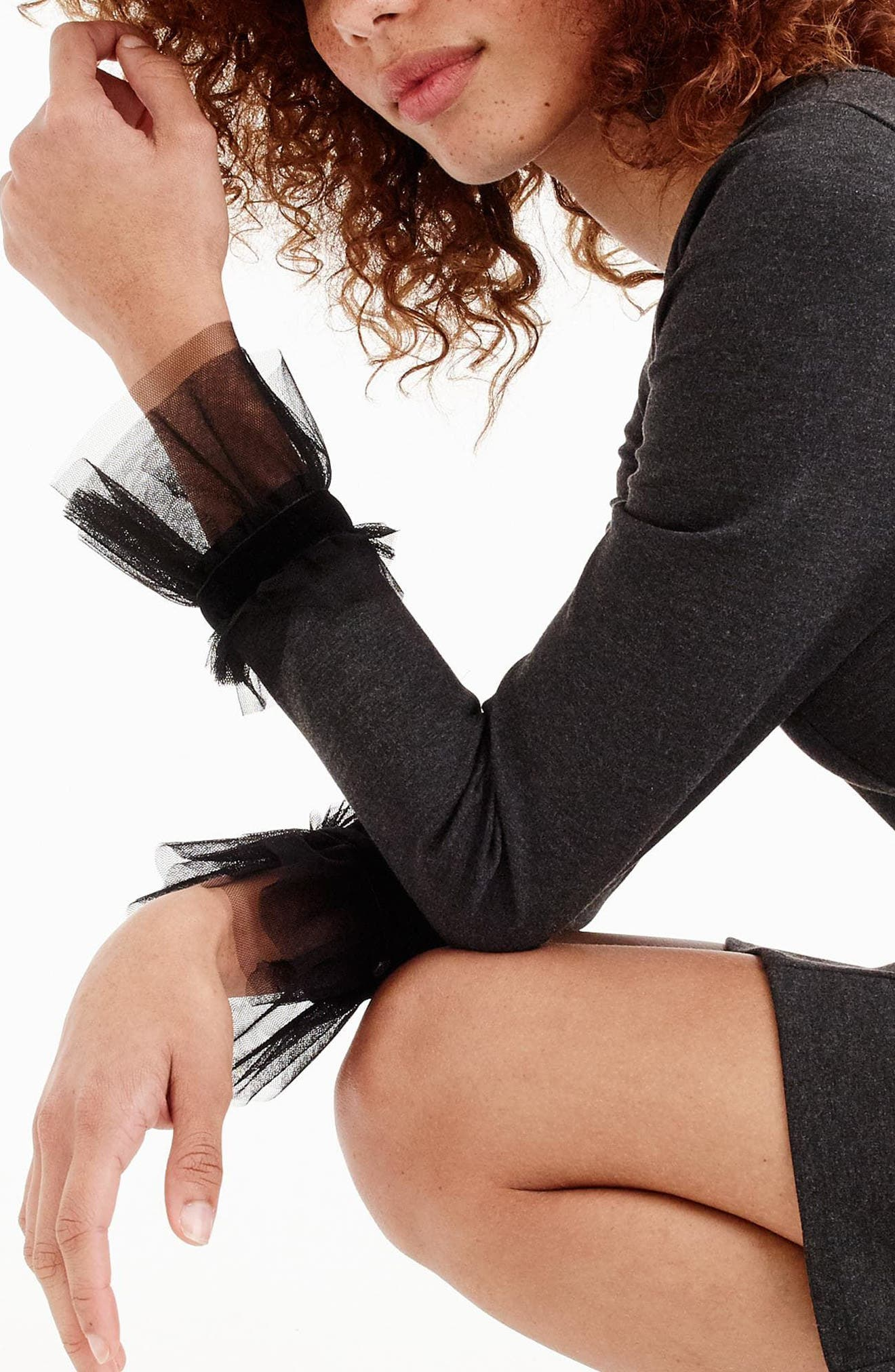Tulle Trim Long Sleeve Sheath Dress,                             Alternate thumbnail 4, color,                             029