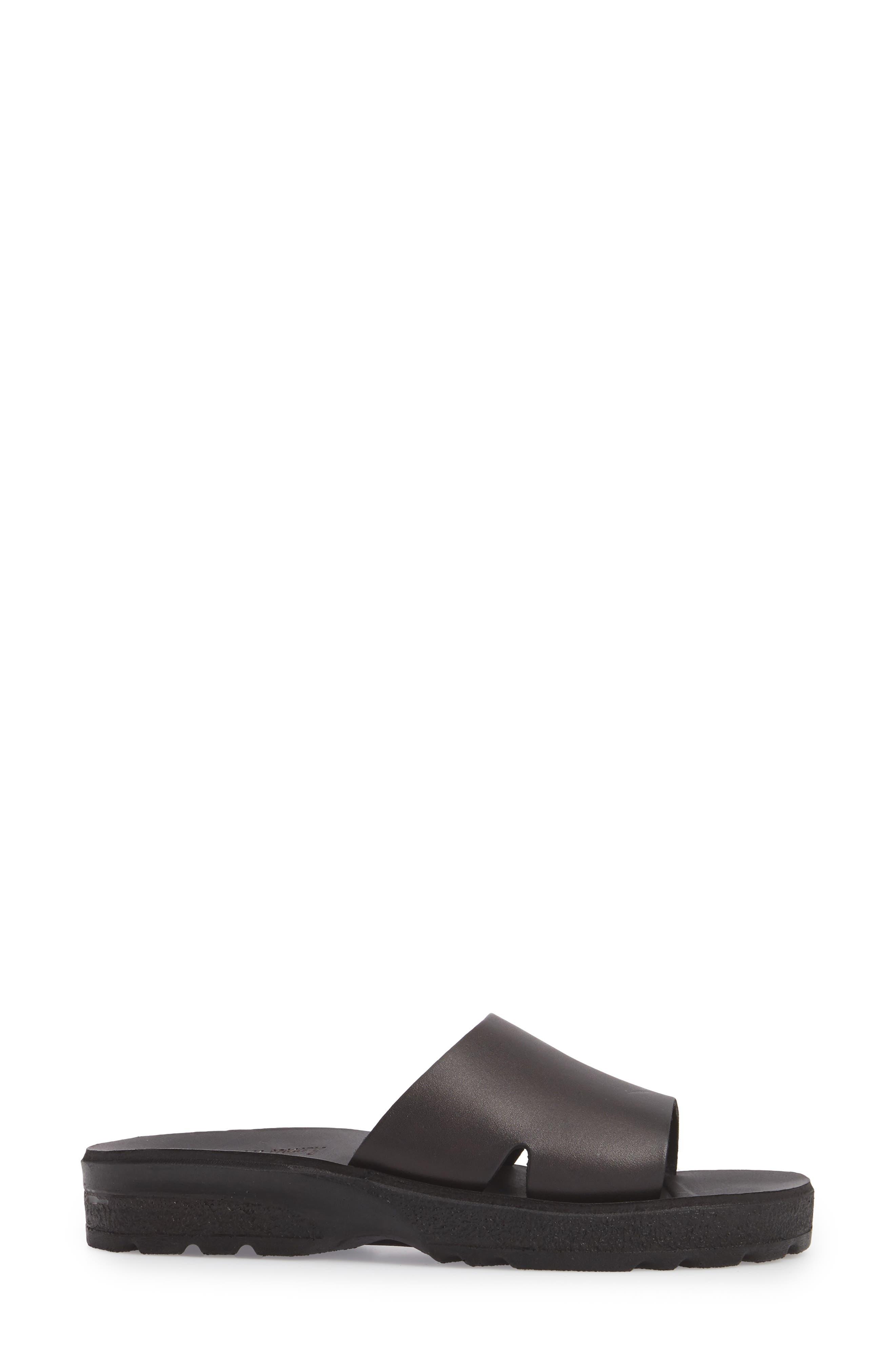 Bashn Molded Footbed Slide Sandal,                             Alternate thumbnail 3, color,                             BLACK LEATHER