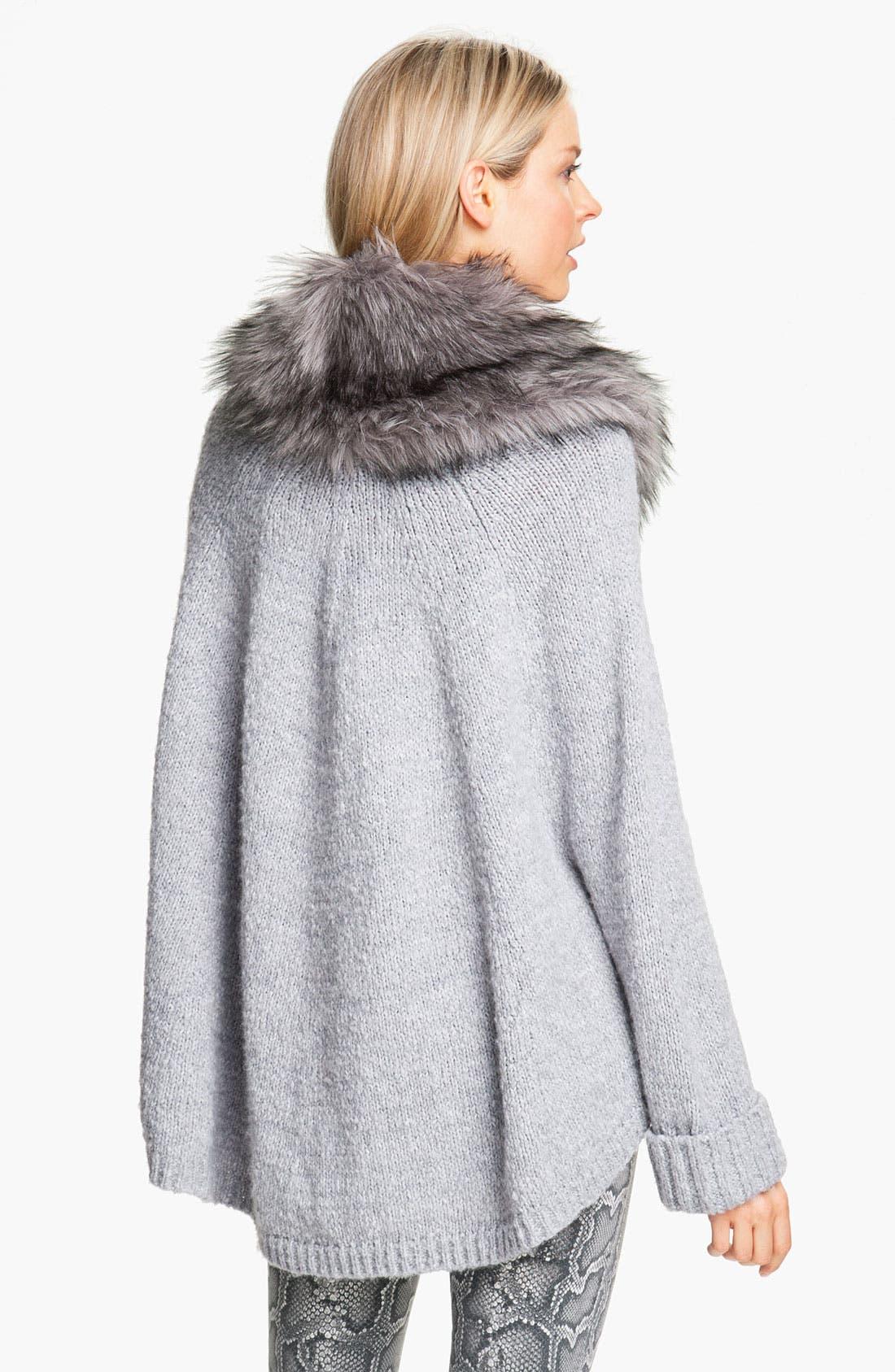 Faux Fur Trim Poncho Sweater,                             Alternate thumbnail 2, color,                             035