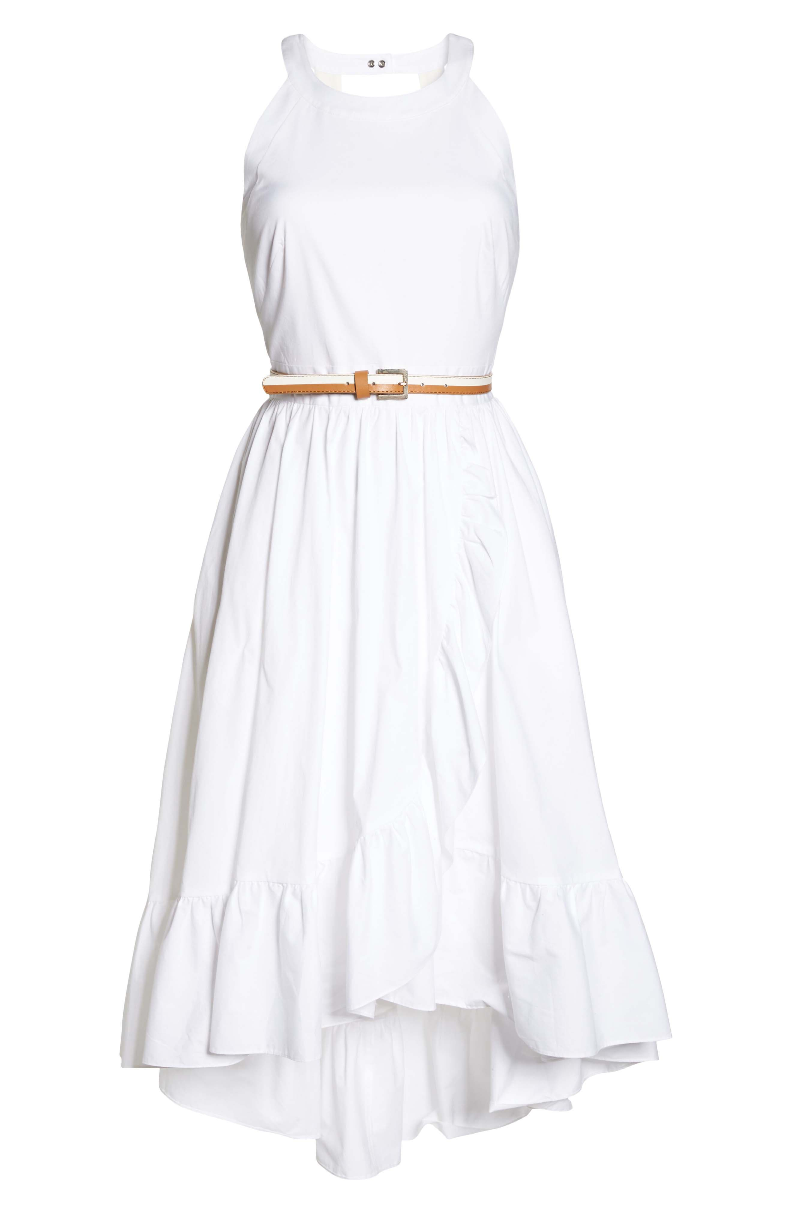 Belted High/Low Dress,                             Alternate thumbnail 7, color,                             100