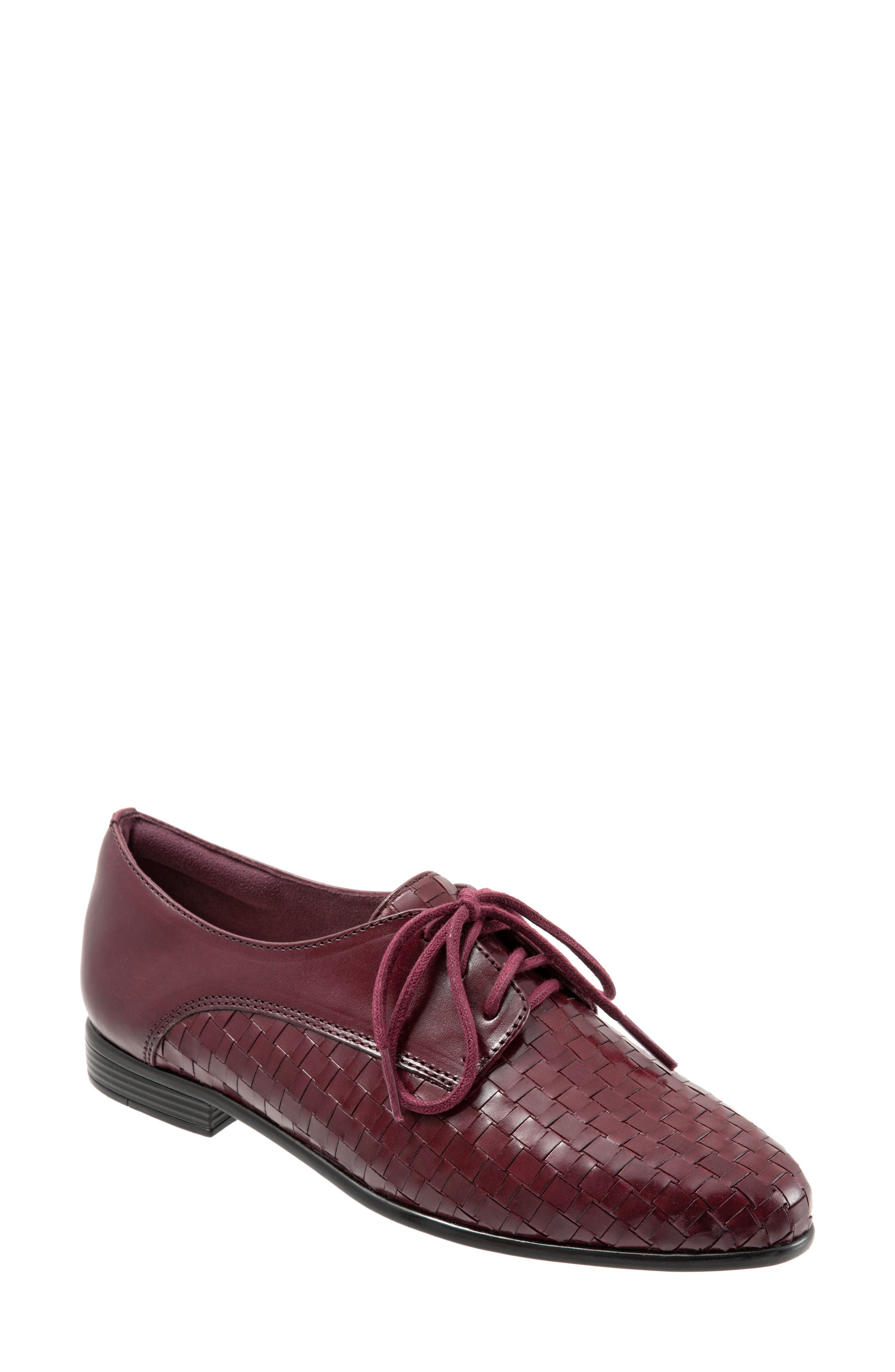 Lizzie Derby Flat,                             Main thumbnail 1, color,                             BLACK CHERRY LEATHER