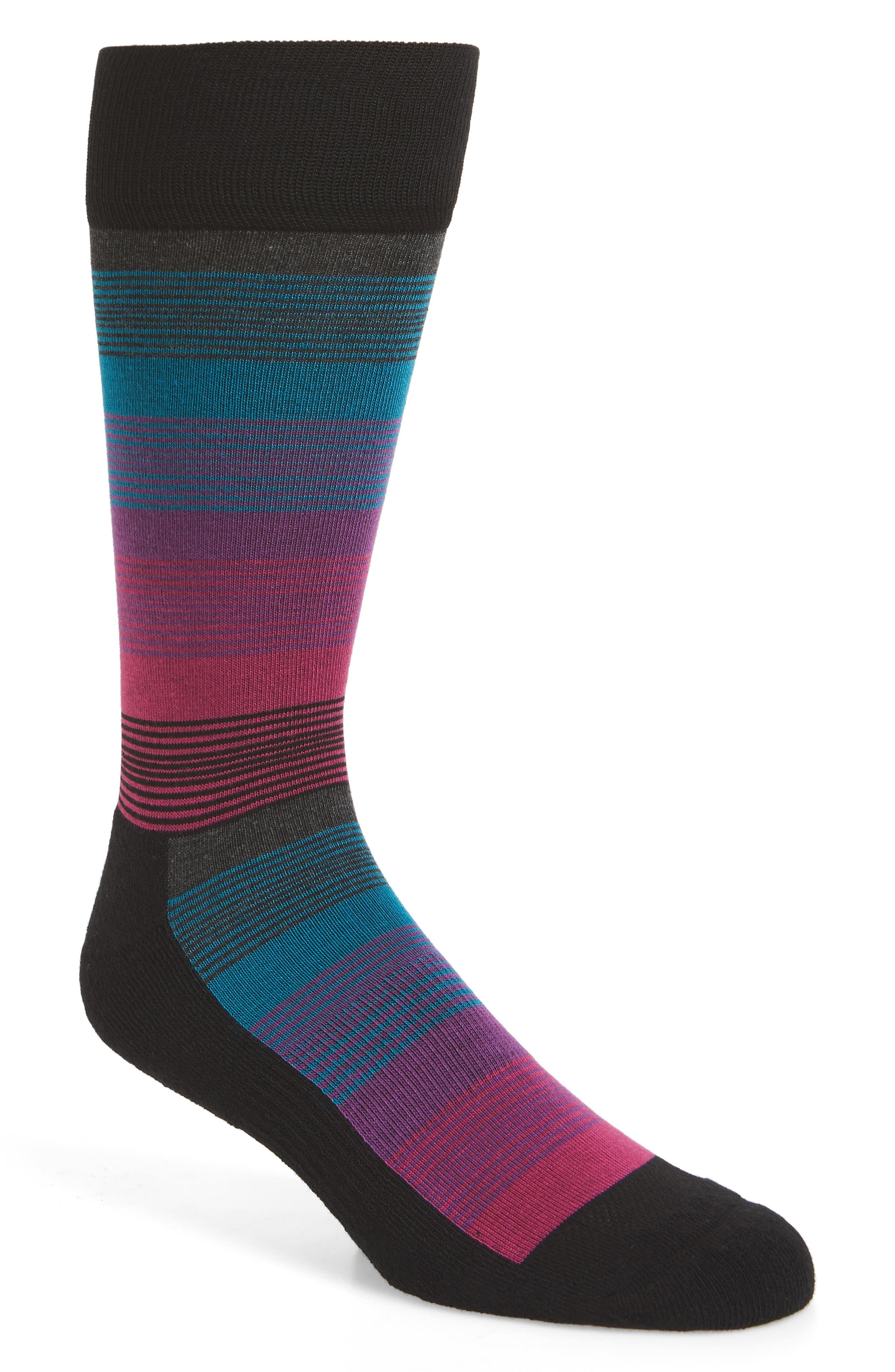 Stripe Socks,                         Main,                         color, BLACK/ MAGENTA