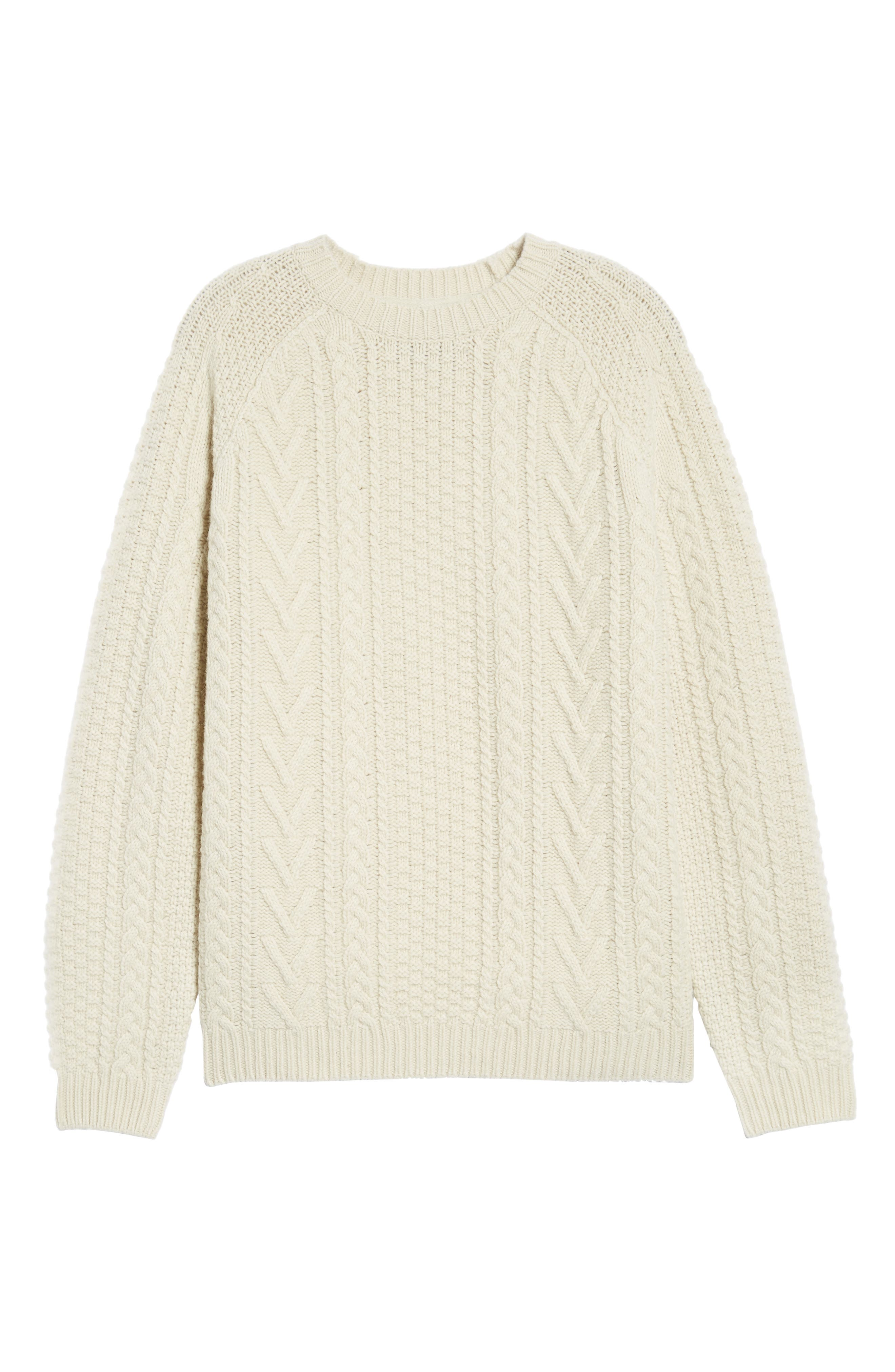 Fisherman Knit Wool Blend Sweater,                             Alternate thumbnail 6, color,                             OFF WHITE