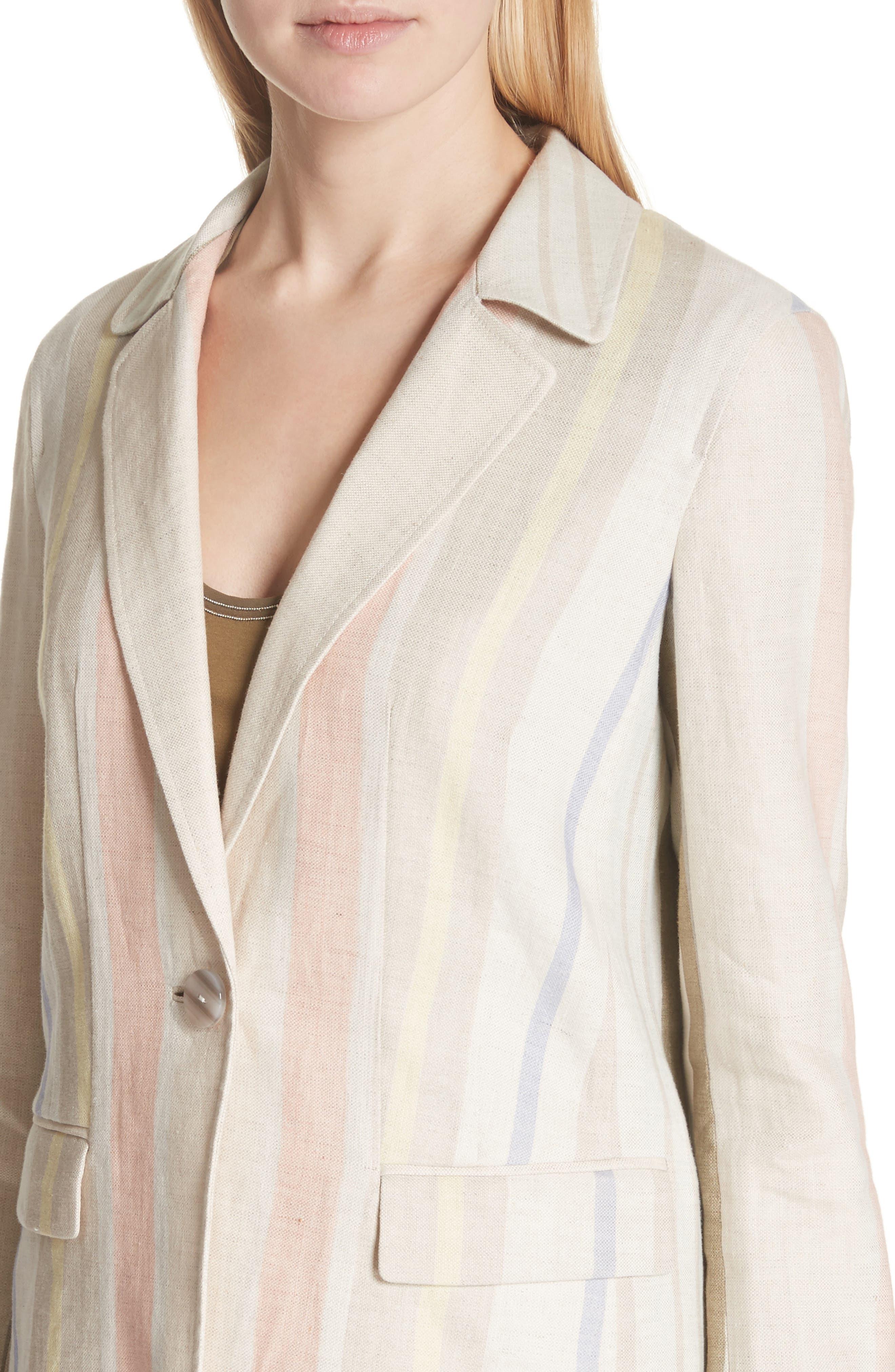 Marie Stripe Linen Jacket,                             Alternate thumbnail 4, color,