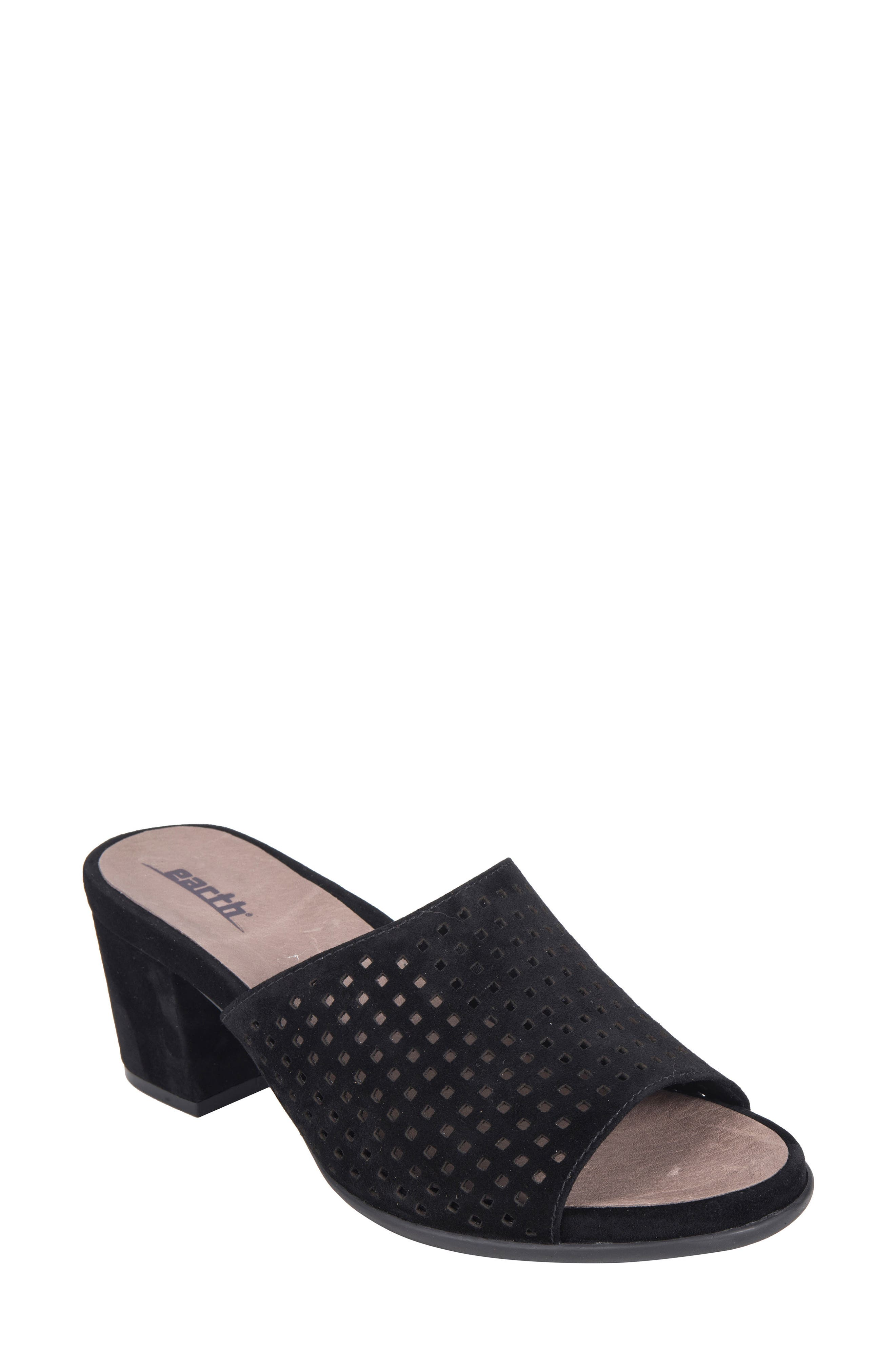 Ibiza Perforated Sandal,                             Main thumbnail 1, color,                             BLACK SUEDE