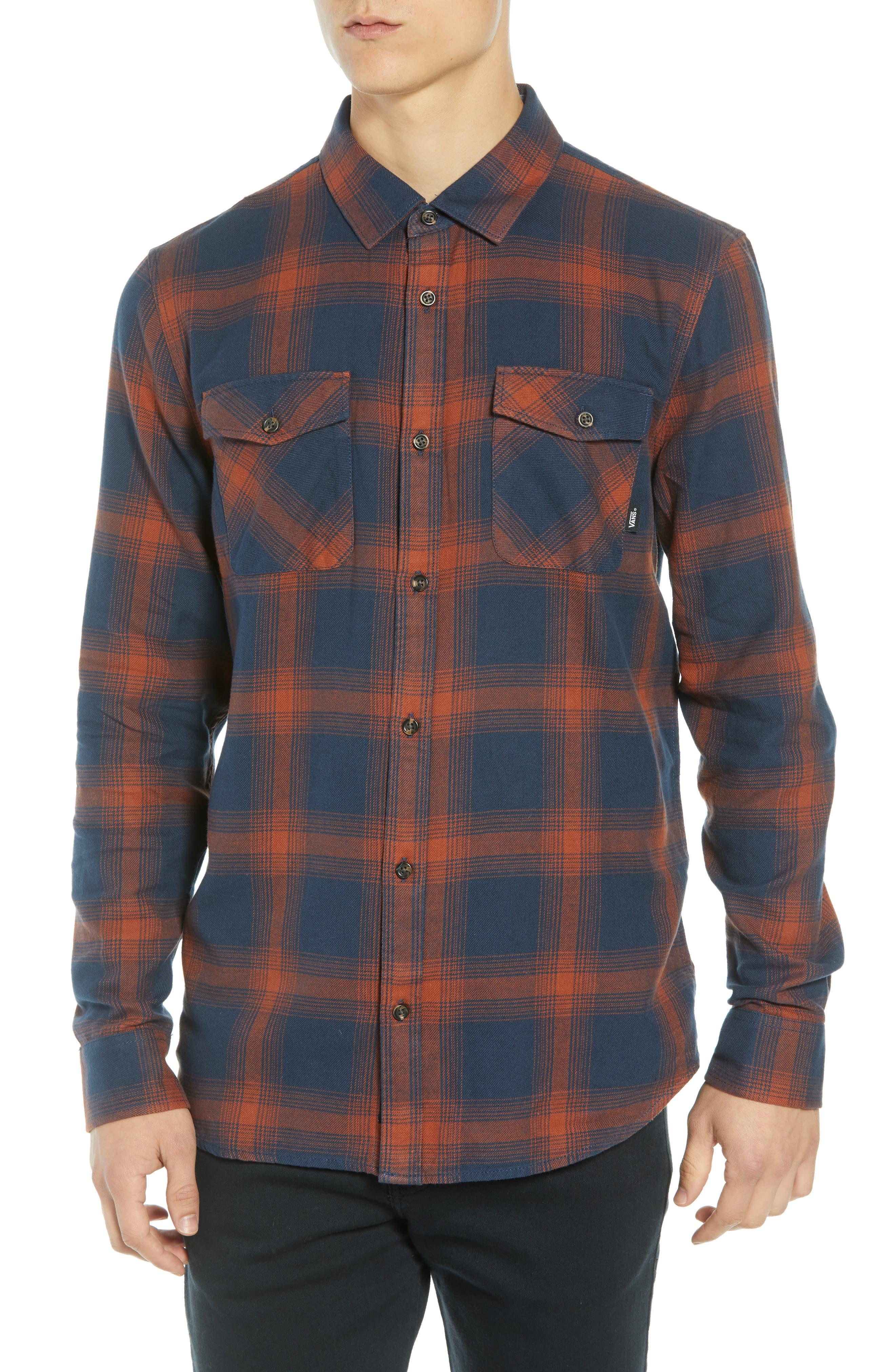 Monterey III Plaid Flannel Shirt,                             Main thumbnail 1, color,                             DRESS BLUES/ SEQUOIA