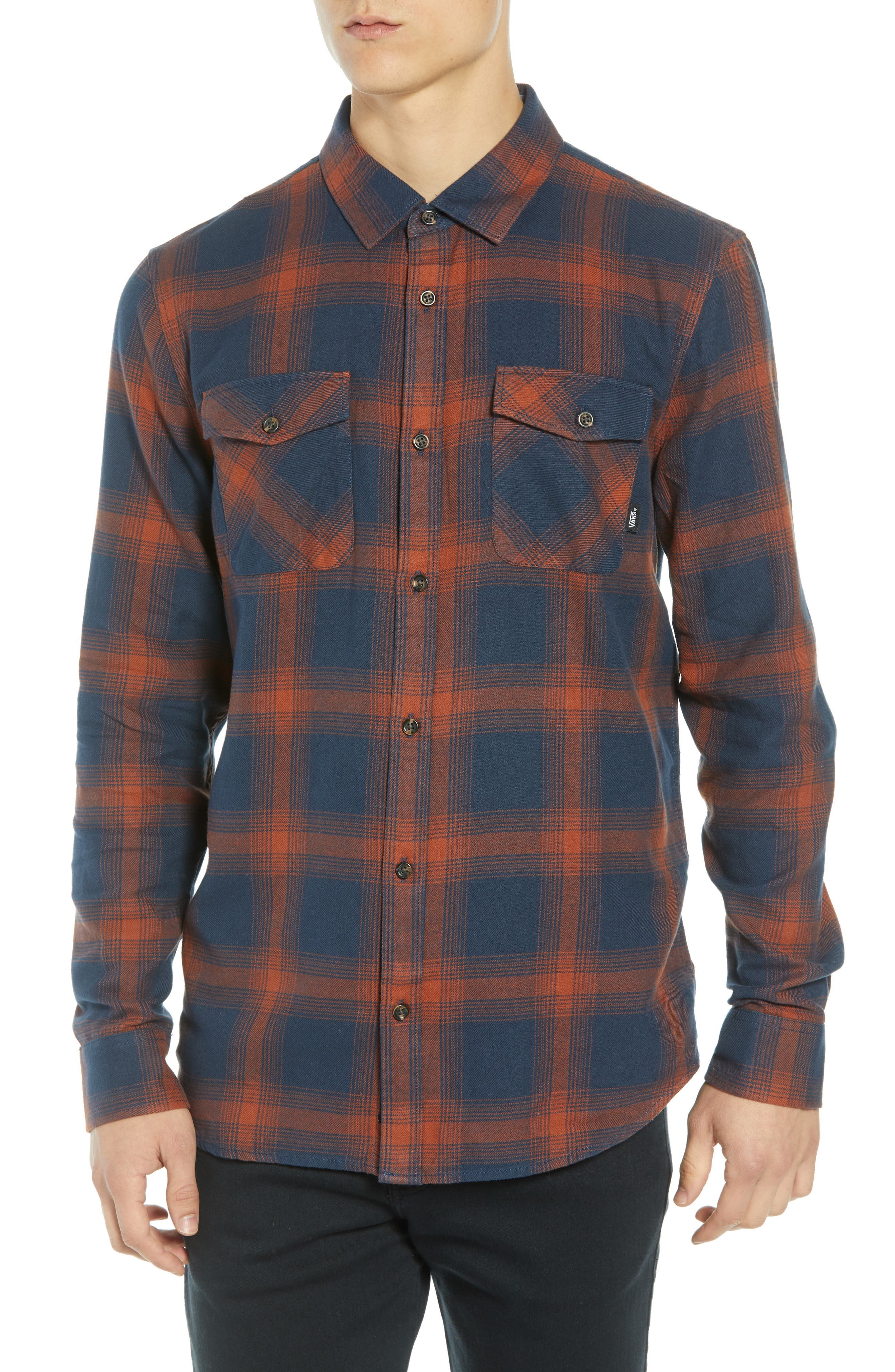 Monterey III Plaid Flannel Shirt,                         Main,                         color, DRESS BLUES/ SEQUOIA