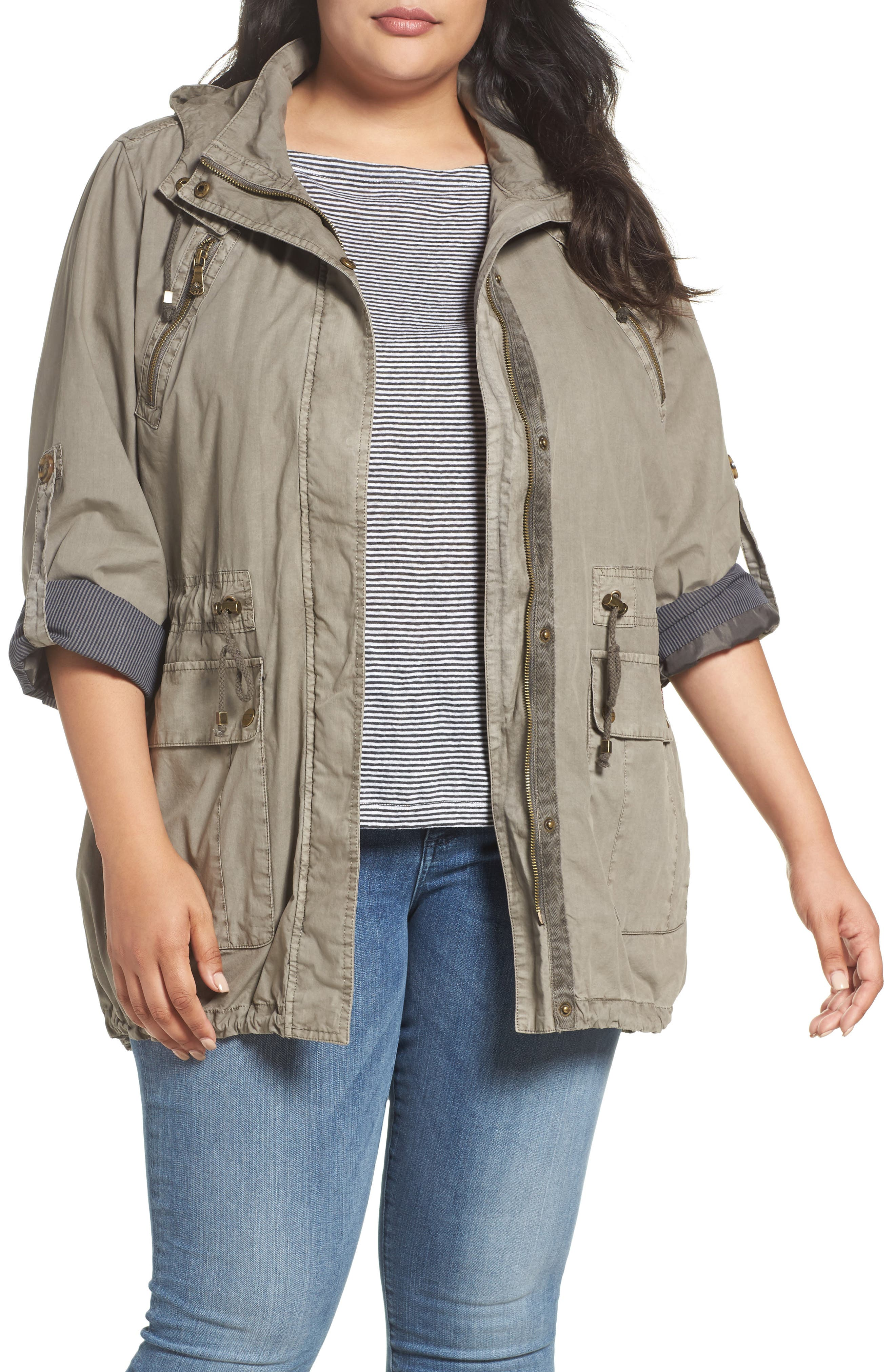 Roll-Sleeve Anorak,                         Main,                         color, GREY