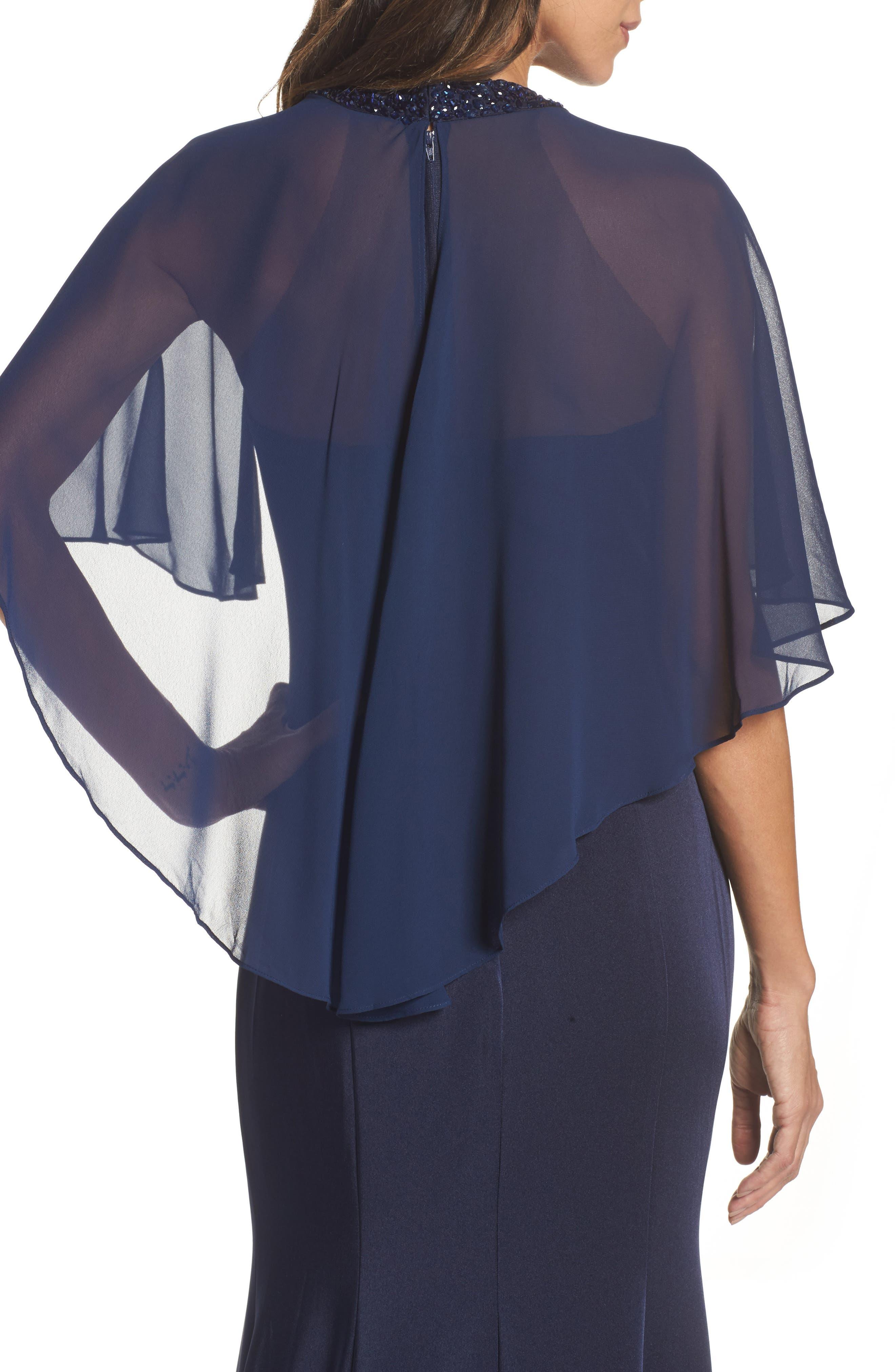 Cape Illusion Gown,                             Alternate thumbnail 4, color,                             NAVY