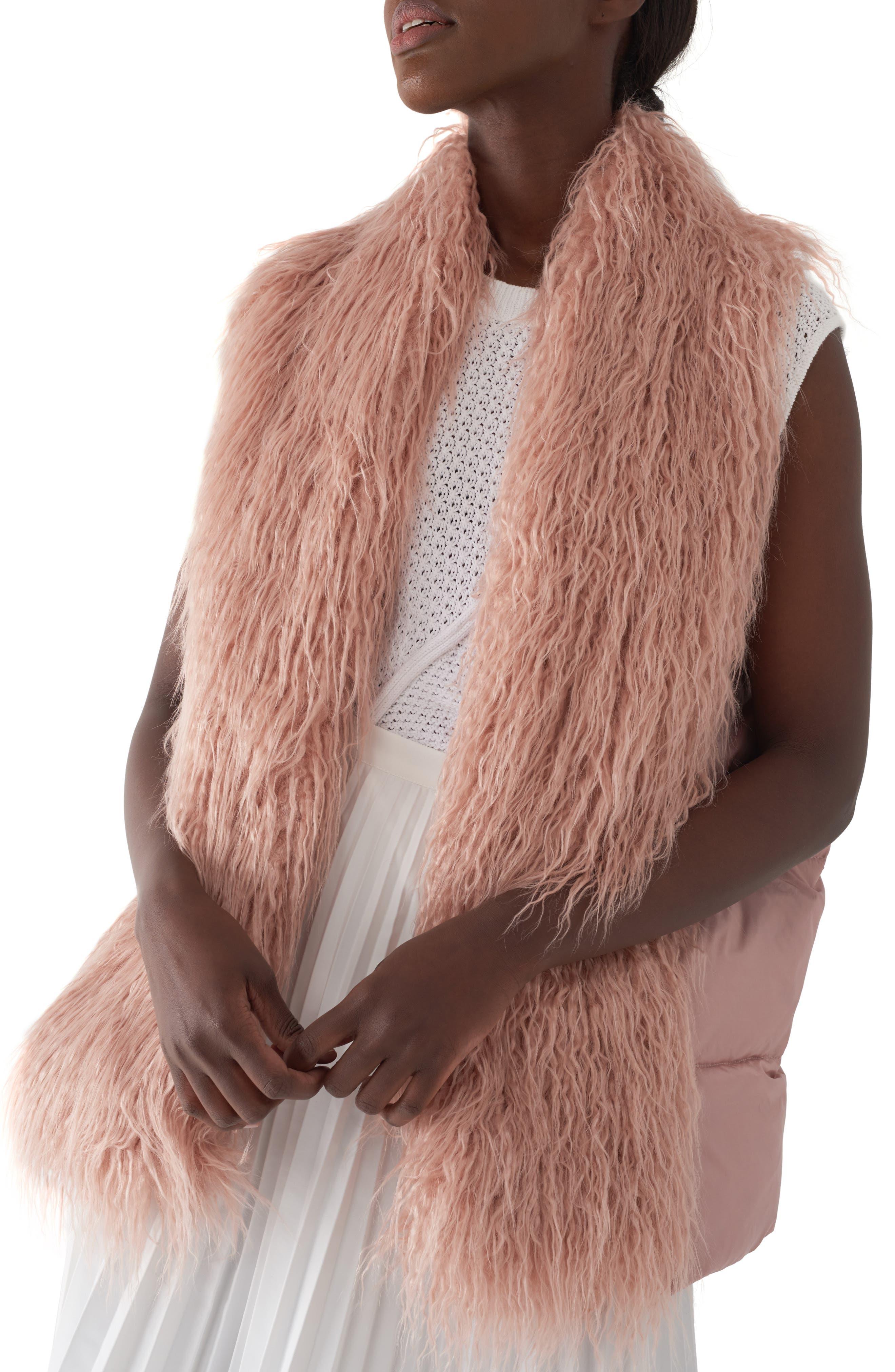 Gila Down & Faux Fur Vest, Main, color, MILLENNIAL PINK