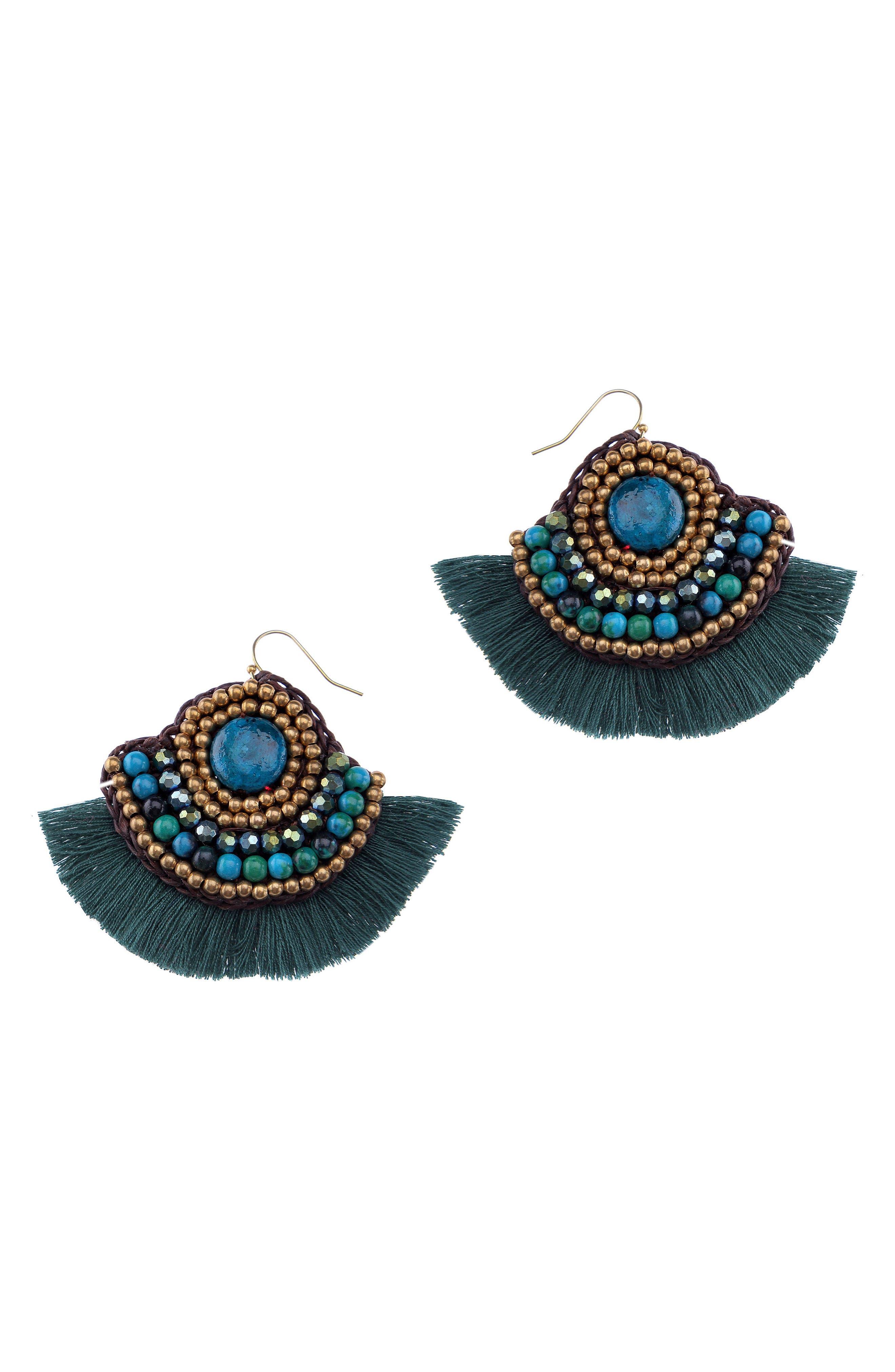 Fringed Malachite Fan Earrings,                         Main,                         color, GREEN