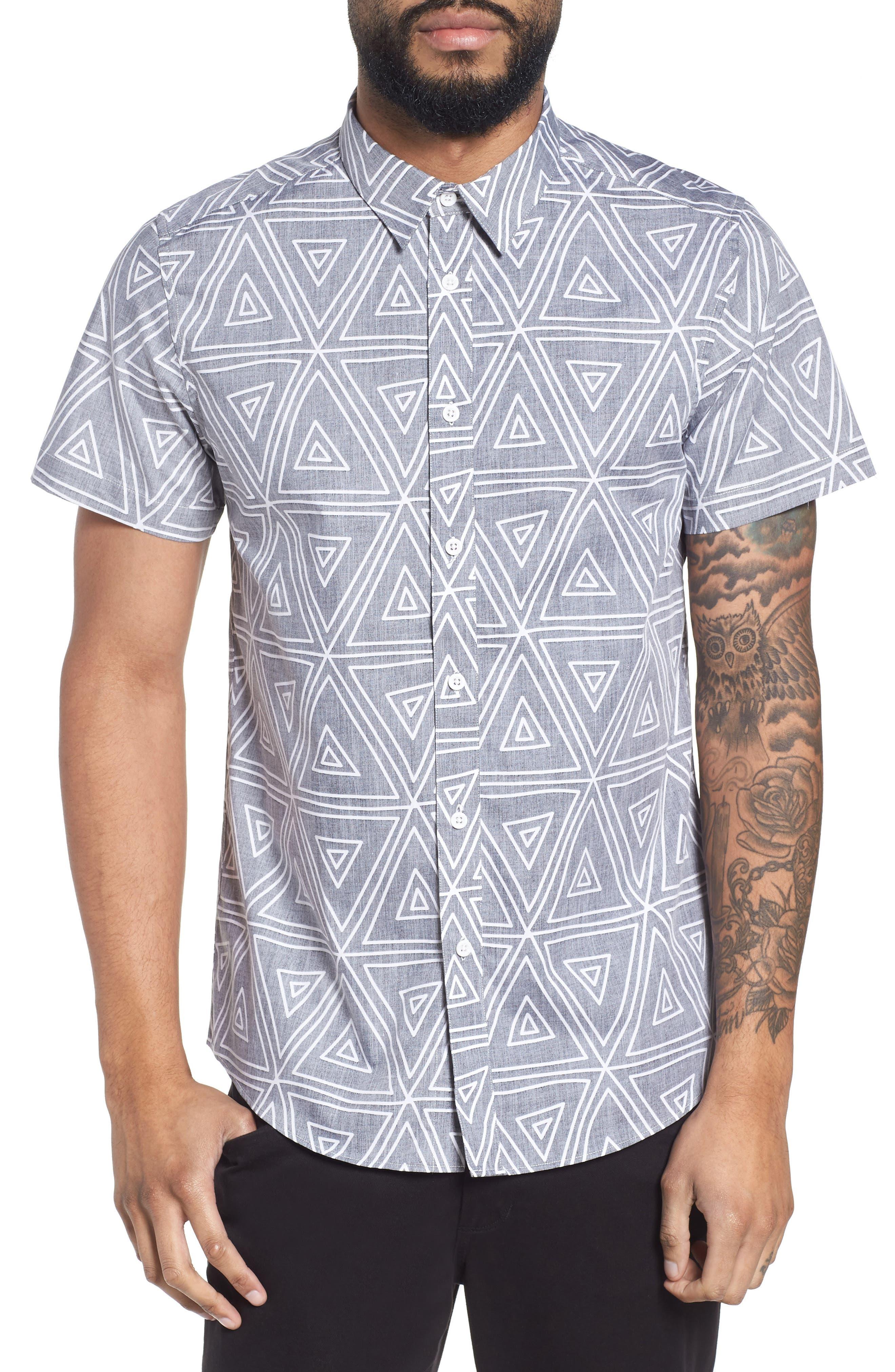 Geometric Woven Short Sleeve Shirt,                         Main,                         color, 004