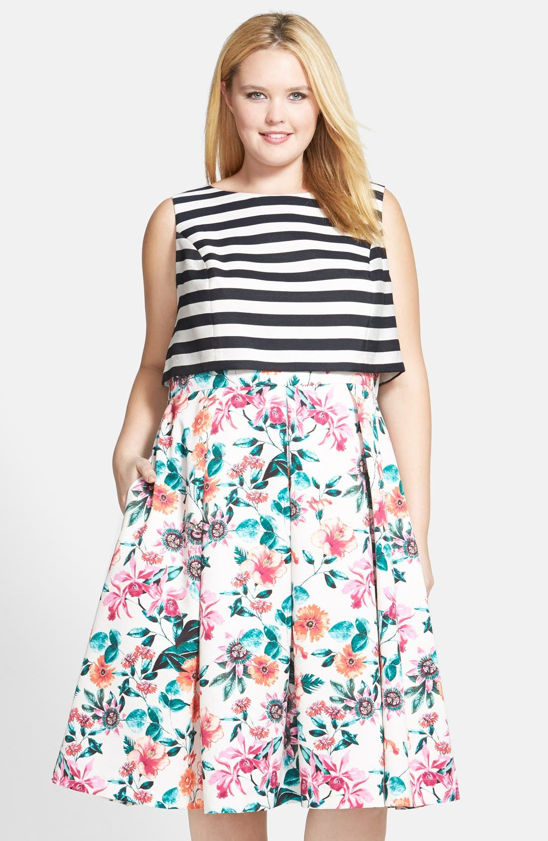 Mixed Print Bodice Overlay Dress,                         Main,                         color, 900