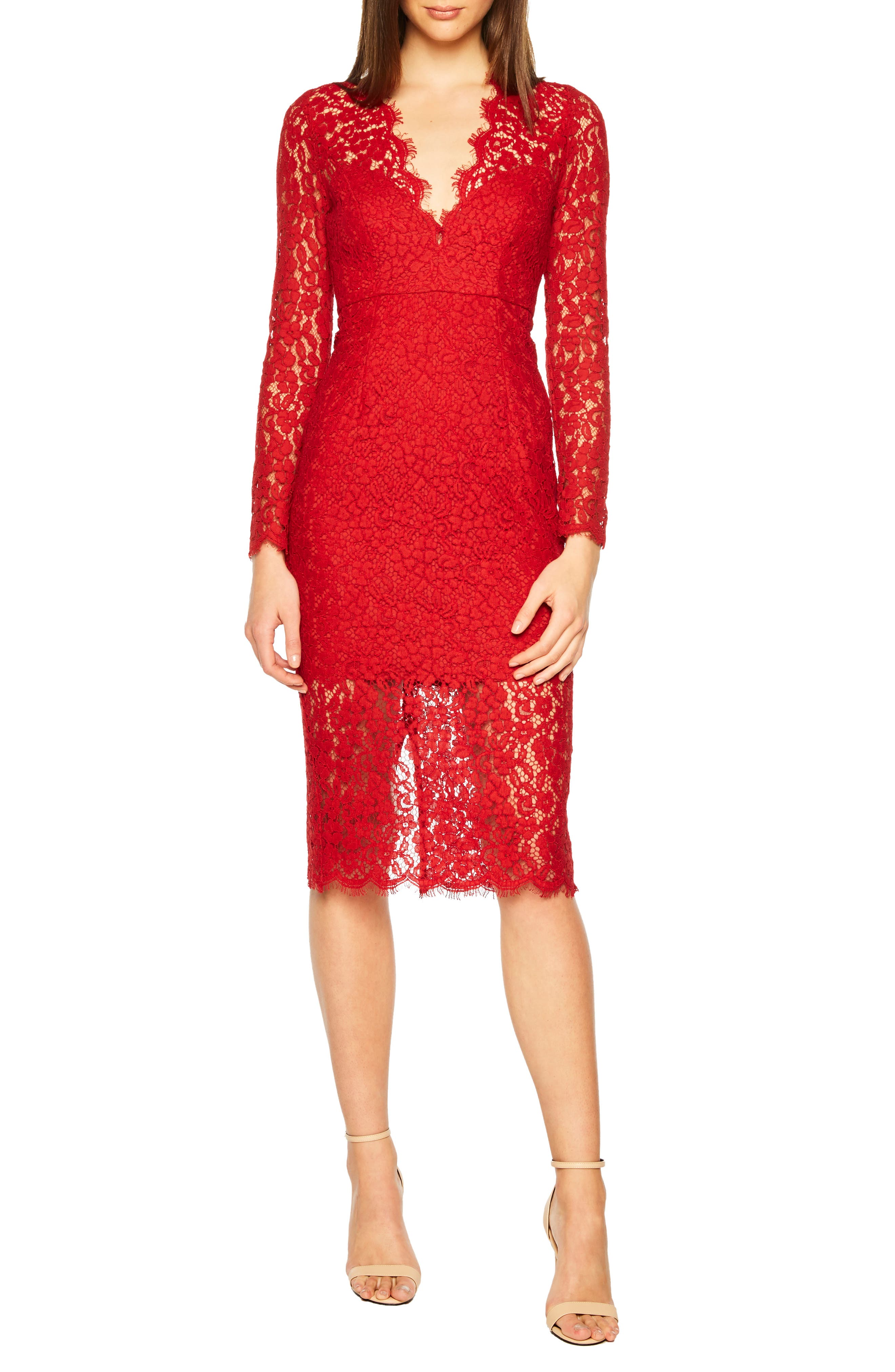 Bardot Midnights Lace Dress, Red