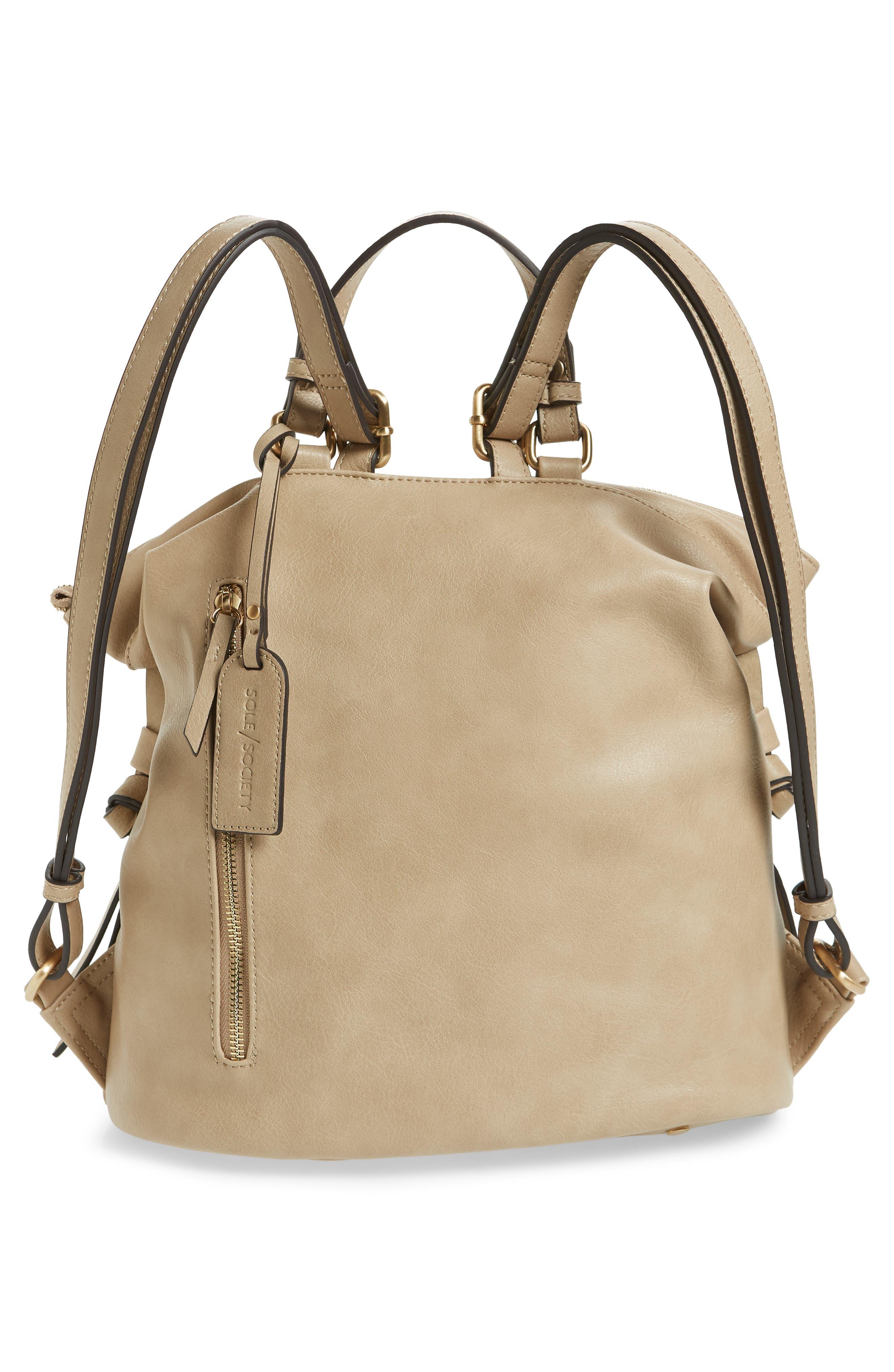 Josah Faux Leather Backpack,                             Alternate thumbnail 3, color,                             SAFARI