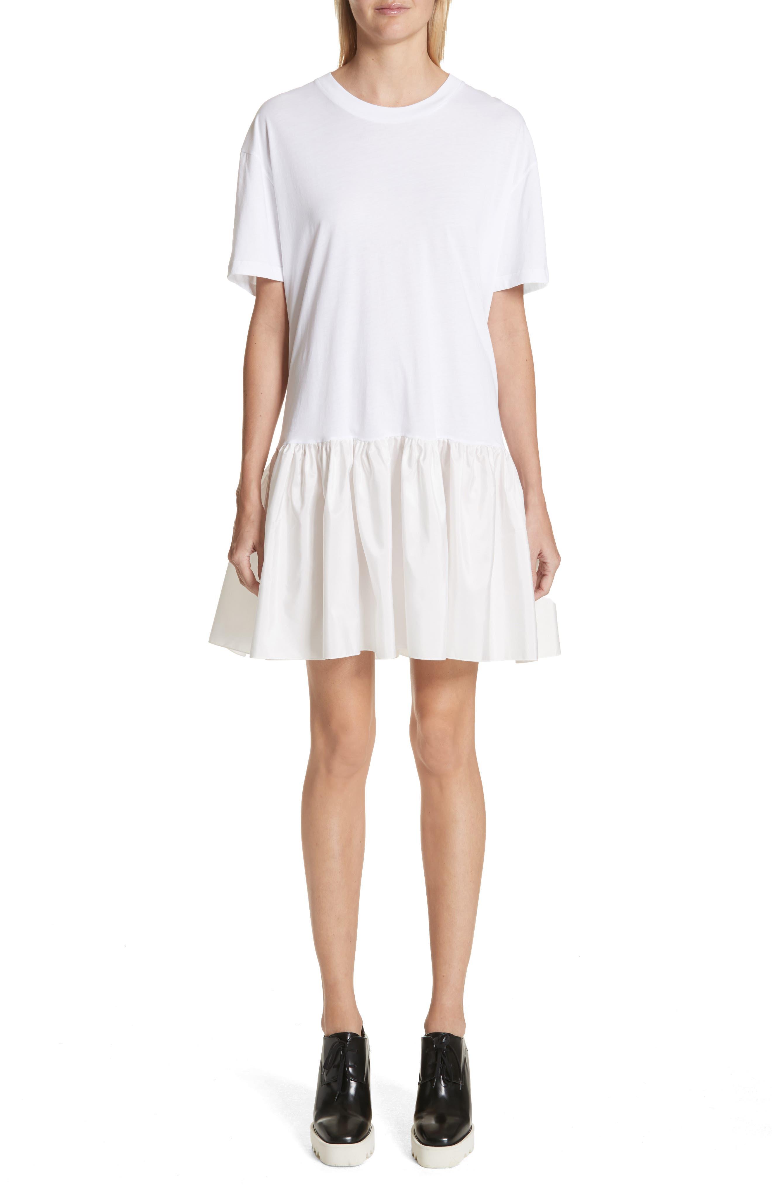 Drop Waist Taffeta Hem T-Shirt Dress,                         Main,                         color, 100