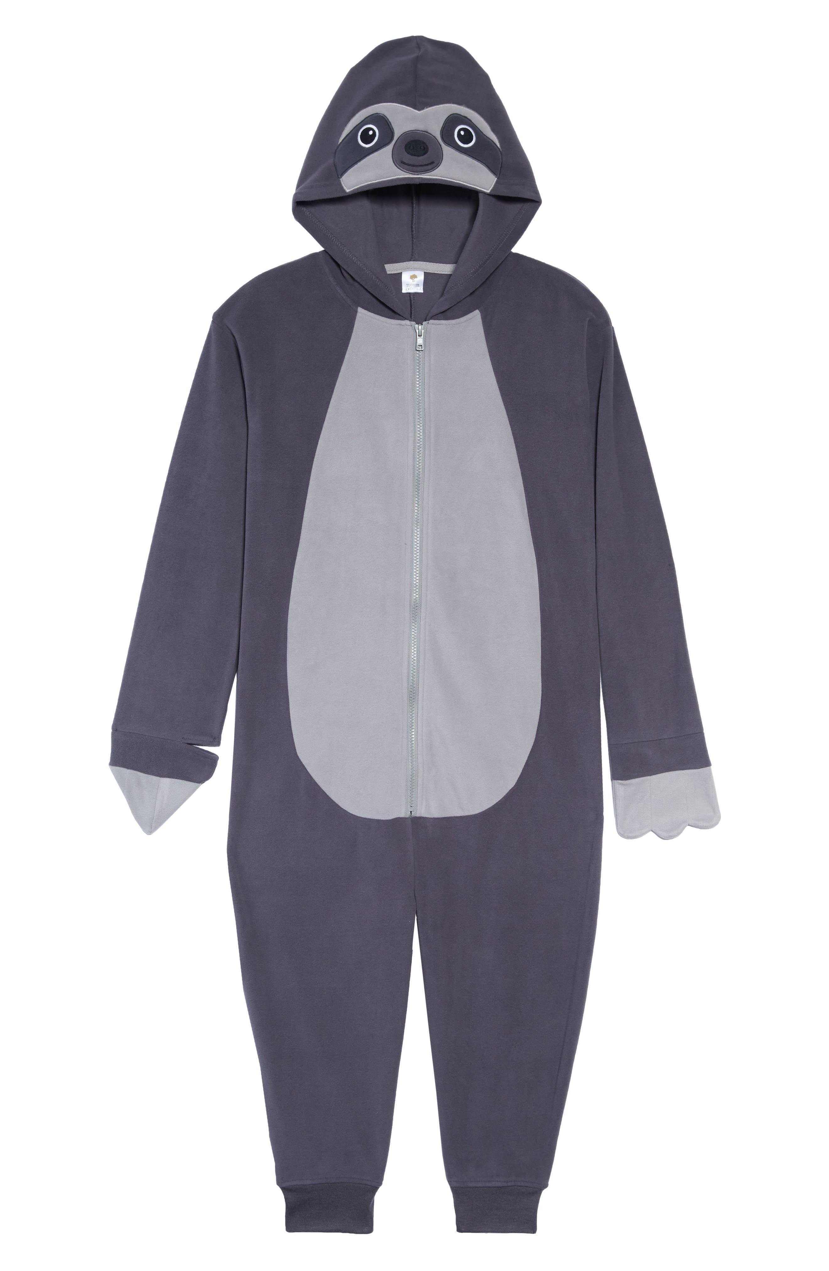 Sloth Hooded One-Piece Pajamas,                         Main,                         color, GREY STONEHENGE SLOTH