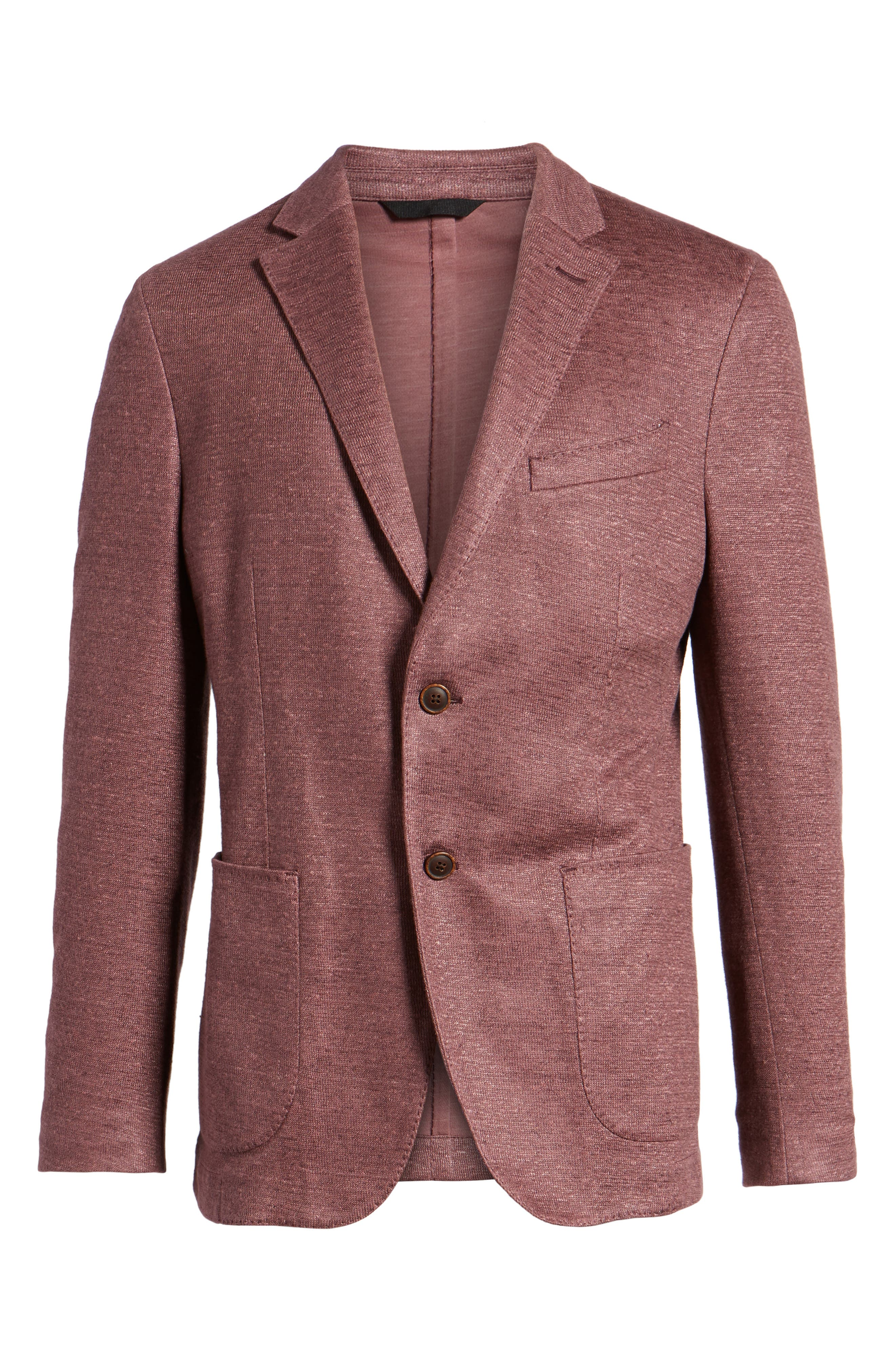 Trim Fit Heathered Jersey Blazer,                             Alternate thumbnail 5, color,                             651