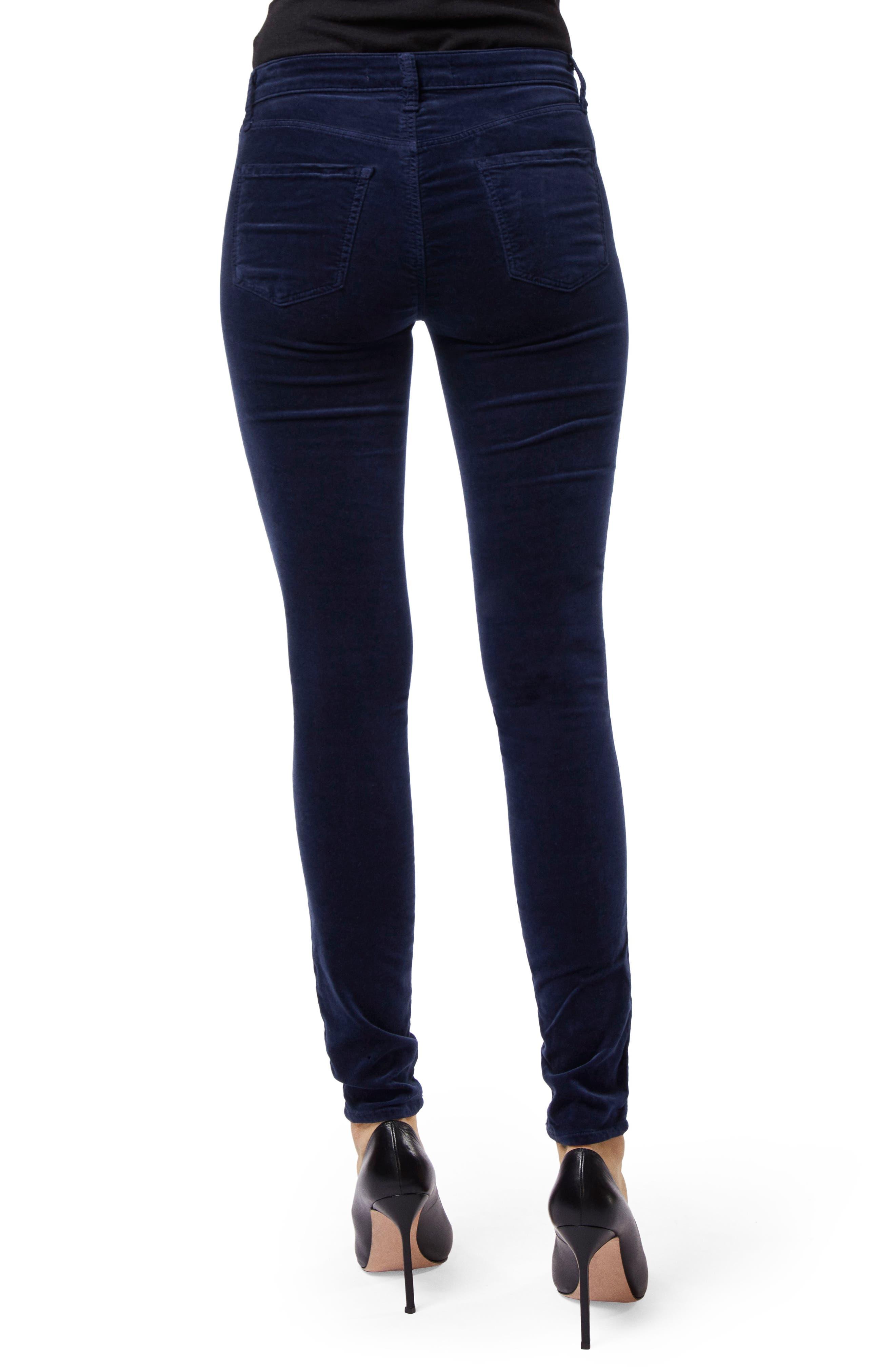 Maria High Waist Velvet Skinny Jeans,                             Alternate thumbnail 2, color,                             NIGHT OUT