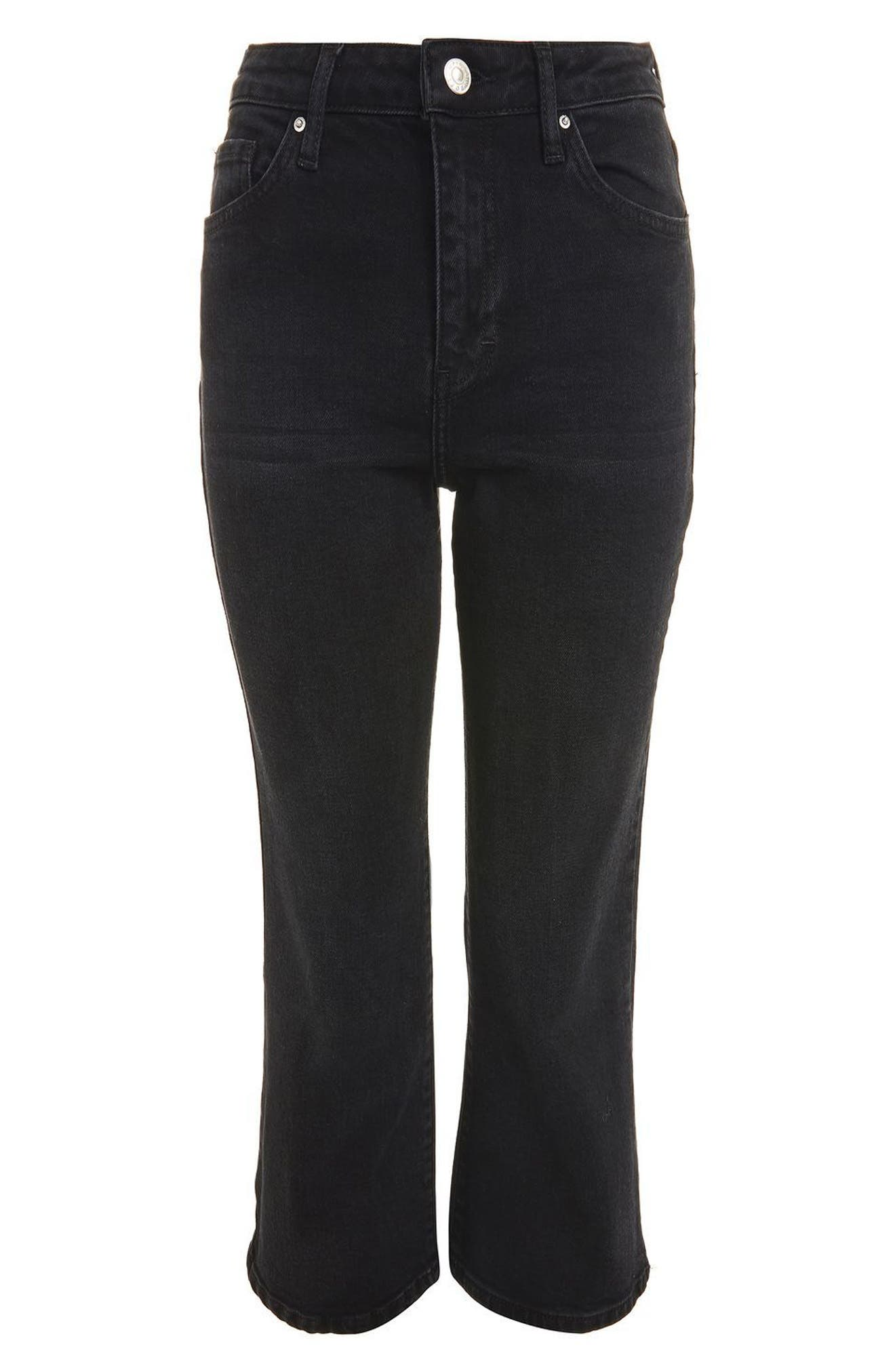 Dree Crop Flare Jeans,                             Alternate thumbnail 3, color,                             001